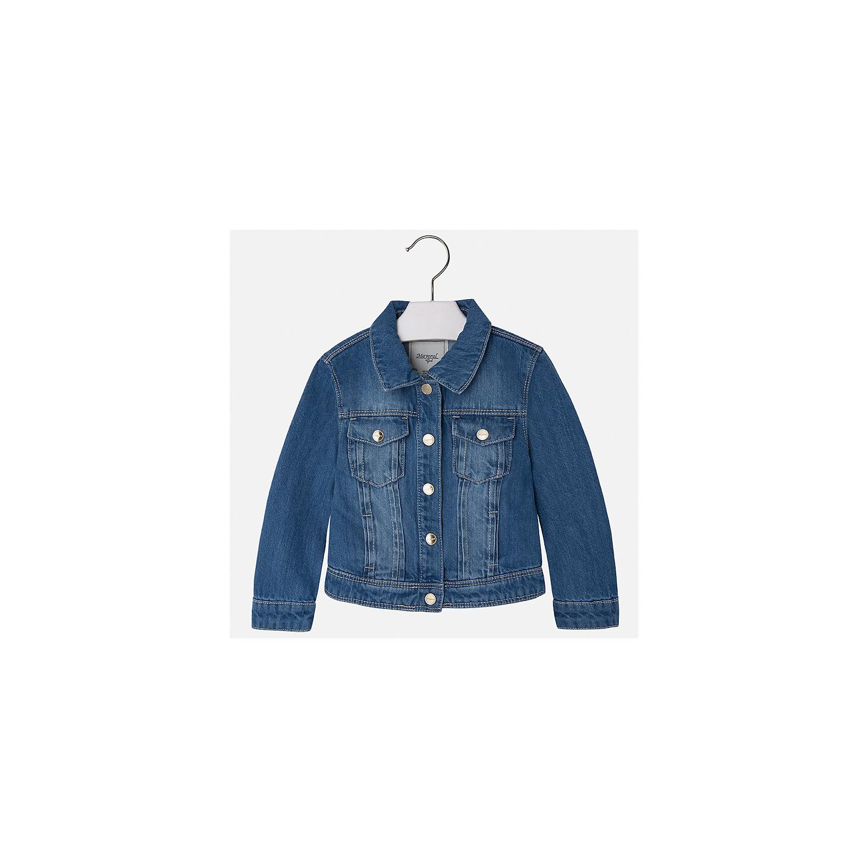 Куртка джинсовая для девочки MayoralДжинсовая одежда<br>Куртка для девочки от известной испанской марки Mayoral.<br><br>Ширина мм: 356<br>Глубина мм: 10<br>Высота мм: 245<br>Вес г: 519<br>Цвет: синий<br>Возраст от месяцев: 18<br>Возраст до месяцев: 24<br>Пол: Женский<br>Возраст: Детский<br>Размер: 92,134,98,104,110,116,122,128<br>SKU: 5288636