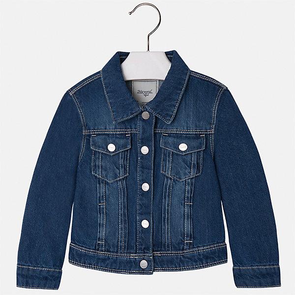 Куртка джинсовая для девочки MayoralДжинсовая одежда<br>Куртка для девочки от известной испанской марки Mayoral.<br><br>Ширина мм: 356<br>Глубина мм: 10<br>Высота мм: 245<br>Вес г: 519<br>Цвет: синий<br>Возраст от месяцев: 48<br>Возраст до месяцев: 60<br>Пол: Женский<br>Возраст: Детский<br>Размер: 110,104,98,92,134,128,122,116<br>SKU: 5288645
