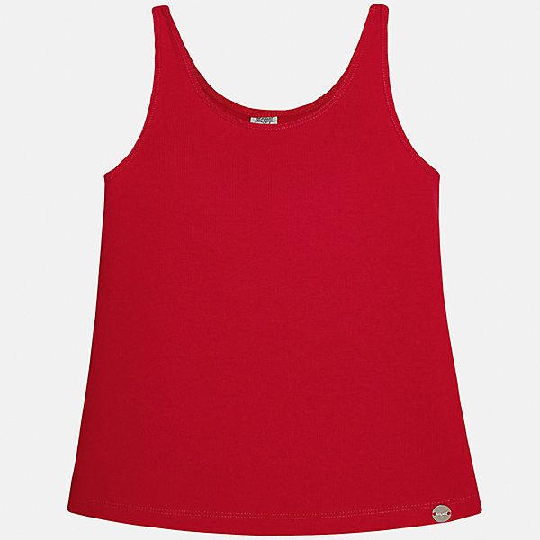 Майка для девочки MayoralФутболки, поло и топы<br>Характеристики товара:<br><br>• цвет: красный<br>• состав: 57% хлопок, 38% полиэстер, 5% эластан<br>• эластичный материал<br>• логотип<br>• округлый горловой вырез<br>• страна бренда: Испания<br><br>Стильная качественная майка для девочки поможет разнообразить гардероб ребенка и украсить наряд. Она отлично сочетается и с юбками, и с шортами, и с брюками. Яркий цвет позволяет подобрать к вещи низ практически любой расцветки. В составе материала - натуральный хлопок, гипоаллергенный, приятный на ощупь, дышащий.<br><br>Одежда, обувь и аксессуары от испанского бренда Mayoral полюбились детям и взрослым по всему миру. Модели этой марки - стильные и удобные. Для их производства используются только безопасные, качественные материалы и фурнитура. Порадуйте ребенка модными и красивыми вещами от Mayoral! <br><br>Майку для девочки от испанского бренда Mayoral (Майорал) можно купить в нашем интернет-магазине.<br><br>Ширина мм: 199<br>Глубина мм: 10<br>Высота мм: 161<br>Вес г: 151<br>Цвет: красный<br>Возраст от месяцев: 84<br>Возраст до месяцев: 96<br>Пол: Женский<br>Возраст: Детский<br>Размер: 128/134,170,164,158,152,140<br>SKU: 5288743