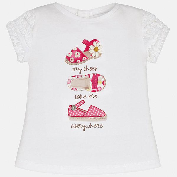 Футболка для девочки MayoralФутболки, топы<br>Характеристики товара:<br><br>• цвет: белый<br>• состав: 92% хлопок, 8% эластан<br>• оборки на рукавах<br>• сзади кнопки<br>• короткие рукава<br>• принт<br>• страна бренда: Испания<br><br>Стильная качественная футболка для девочки поможет разнообразить гардероб ребенка и украсить наряд. Она отлично сочетается и с юбками, и с шортами, и с брюками. Универсальный цвет позволяет подобрать к вещи низ практически любой расцветки. Интересная отделка модели делает её нарядной и оригинальной. В составе ткани преобладает натуральный хлопок, гипоаллергенный, приятный на ощупь, дышащий.<br><br>Одежда, обувь и аксессуары от испанского бренда Mayoral полюбились детям и взрослым по всему миру. Модели этой марки - стильные и удобные. Для их производства используются только безопасные, качественные материалы и фурнитура. Порадуйте ребенка модными и красивыми вещами от Mayoral! <br><br>Футболку для девочки от испанского бренда Mayoral (Майорал) можно купить в нашем интернет-магазине.<br><br>Ширина мм: 199<br>Глубина мм: 10<br>Высота мм: 161<br>Вес г: 151<br>Цвет: розовый<br>Возраст от месяцев: 6<br>Возраст до месяцев: 9<br>Пол: Женский<br>Возраст: Детский<br>Размер: 74,92,86,80<br>SKU: 5288781