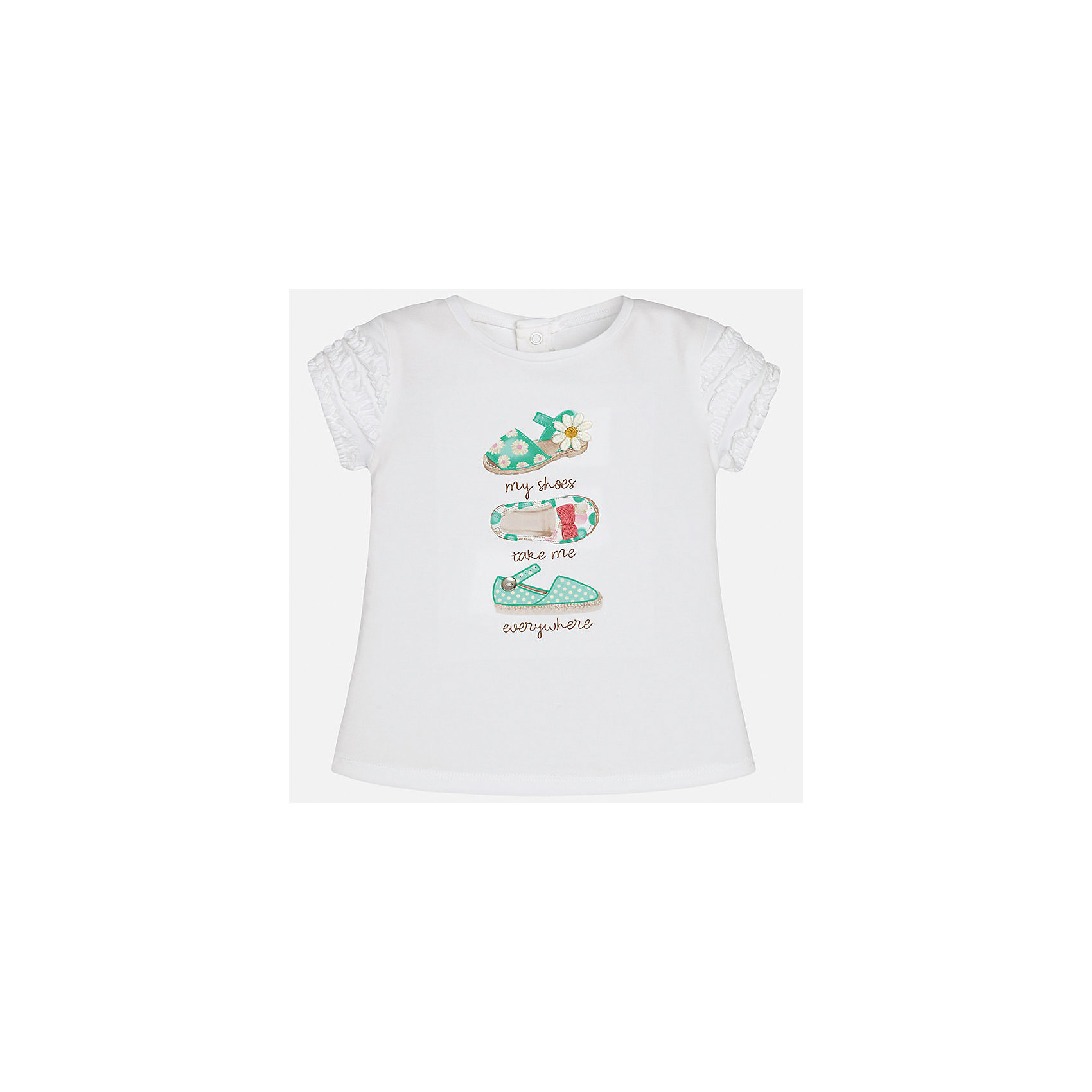 Футболка для девочки MayoralФутболки, топы<br>Характеристики товара:<br><br>• цвет: белый<br>• состав: 92% хлопок, 8% эластан<br>• оборки на рукавах<br>• сзади кнопки<br>• короткие рукава<br>• принт<br>• страна бренда: Испания<br><br>Стильная качественная футболка для девочки поможет разнообразить гардероб ребенка и украсить наряд. Она отлично сочетается и с юбками, и с шортами, и с брюками. Универсальный цвет позволяет подобрать к вещи низ практически любой расцветки. Интересная отделка модели делает её нарядной и оригинальной. В составе ткани преобладает натуральный хлопок, гипоаллергенный, приятный на ощупь, дышащий.<br><br>Одежда, обувь и аксессуары от испанского бренда Mayoral полюбились детям и взрослым по всему миру. Модели этой марки - стильные и удобные. Для их производства используются только безопасные, качественные материалы и фурнитура. Порадуйте ребенка модными и красивыми вещами от Mayoral! <br><br>Футболку для девочки от испанского бренда Mayoral (Майорал) можно купить в нашем интернет-магазине.<br><br>Ширина мм: 199<br>Глубина мм: 10<br>Высота мм: 161<br>Вес г: 151<br>Цвет: зеленый<br>Возраст от месяцев: 6<br>Возраст до месяцев: 9<br>Пол: Женский<br>Возраст: Детский<br>Размер: 74,92,86,80<br>SKU: 5288786