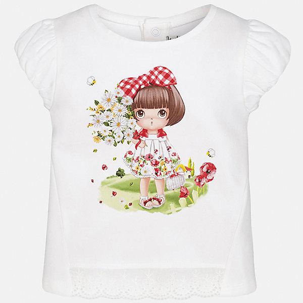 Футболка для девочки MayoralФутболки, топы<br>Характеристики товара:<br><br>• цвет: белый<br>• состав: 92% хлопок, 8% эластан<br>• сзади кнопки<br>• принт<br>• короткие рукава<br>• округлый горловой вырез<br>• страна бренда: Испания<br><br>Стильная качественная футболка для девочки поможет разнообразить гардероб ребенка и украсить наряд. Она отлично сочетается и с юбками, и с шортами, и с брюками. Универсальный цвет позволяет подобрать к вещи низ практически любой расцветки. Интересная отделка модели делает её нарядной и оригинальной. В составе ткани преобладает натуральный хлопок, гипоаллергенный, приятный на ощупь, дышащий.<br><br>Одежда, обувь и аксессуары от испанского бренда Mayoral полюбились детям и взрослым по всему миру. Модели этой марки - стильные и удобные. Для их производства используются только безопасные, качественные материалы и фурнитура. Порадуйте ребенка модными и красивыми вещами от Mayoral! <br><br>Футболку для девочки от испанского бренда Mayoral (Майорал) можно купить в нашем интернет-магазине.<br><br>Ширина мм: 199<br>Глубина мм: 10<br>Высота мм: 161<br>Вес г: 151<br>Цвет: красный<br>Возраст от месяцев: 6<br>Возраст до месяцев: 9<br>Пол: Женский<br>Возраст: Детский<br>Размер: 74,92,86,80<br>SKU: 5288791