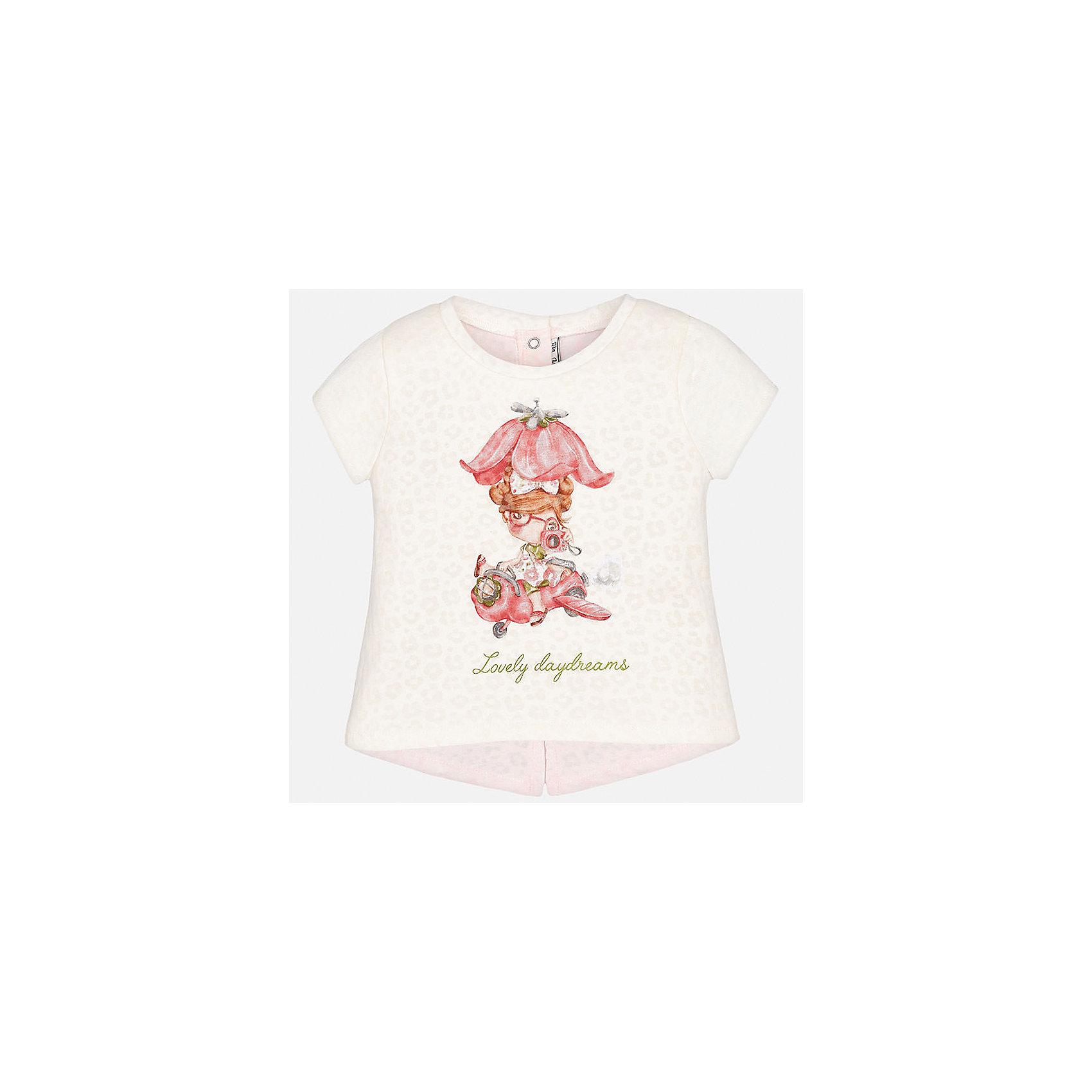 Футболка для девочки MayoralХарактеристики товара:<br><br>• цвет: белый/розовый<br>• состав: 50% хлопок, 50% полиэстер, подкладка - 100% хлопок<br>• принт<br>• кнопки сзади<br>• короткие рукава<br>• удлиненная спинка<br>• страна бренда: Испания<br><br>Стильная качественная футболка для девочки поможет разнообразить гардероб ребенка и украсить наряд. Она отлично сочетается и с юбками, и с шортами, и с брюками. Универсальный цвет позволяет подобрать к вещи низ практически любой расцветки. Интересная отделка модели делает её нарядной и оригинальной. В составе ткани преобладает натуральный хлопок, гипоаллергенный, приятный на ощупь, дышащий.<br><br>Одежда, обувь и аксессуары от испанского бренда Mayoral полюбились детям и взрослым по всему миру. Модели этой марки - стильные и удобные. Для их производства используются только безопасные, качественные материалы и фурнитура. Порадуйте ребенка модными и красивыми вещами от Mayoral! <br><br>Футболку для девочки от испанского бренда Mayoral (Майорал) можно купить в нашем интернет-магазине.<br><br>Ширина мм: 199<br>Глубина мм: 10<br>Высота мм: 161<br>Вес г: 151<br>Цвет: бежевый<br>Возраст от месяцев: 18<br>Возраст до месяцев: 24<br>Пол: Женский<br>Возраст: Детский<br>Размер: 92,74,80,86<br>SKU: 5288806