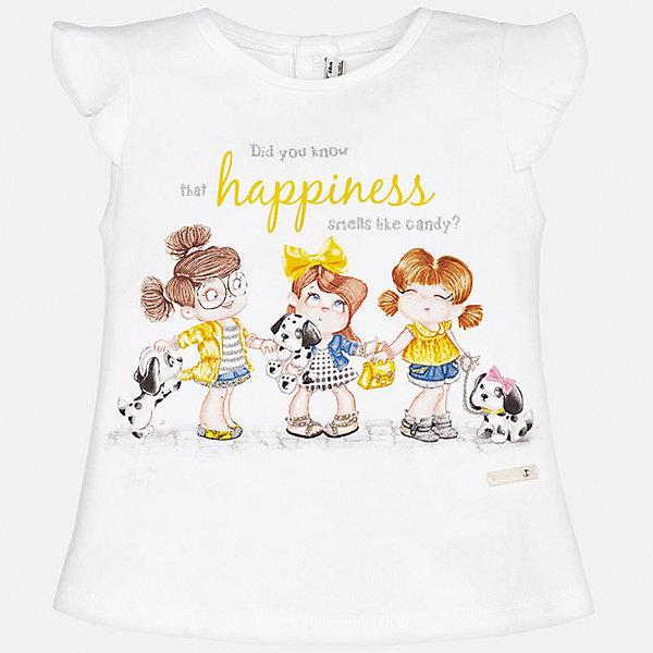 Футболка для девочки MayoralФутболки, поло и топы<br>Характеристики товара:<br><br>• цвет: белый<br>• состав: 92% хлопок, 8% эластан<br>• сзади кнопки<br>• принт<br>• короткие рукава<br>• округлый горловой вырез<br>• страна бренда: Испания<br><br>Стильная качественная футболка для девочки поможет разнообразить гардероб ребенка и украсить наряд. Она отлично сочетается и с юбками, и с шортами, и с брюками. Универсальный цвет позволяет подобрать к вещи низ практически любой расцветки. Интересная отделка модели делает её нарядной и оригинальной. В составе ткани преобладает натуральный хлопок, гипоаллергенный, приятный на ощупь, дышащий.<br><br>Одежда, обувь и аксессуары от испанского бренда Mayoral полюбились детям и взрослым по всему миру. Модели этой марки - стильные и удобные. Для их производства используются только безопасные, качественные материалы и фурнитура. Порадуйте ребенка модными и красивыми вещами от Mayoral! <br><br>Футболку для девочки от испанского бренда Mayoral (Майорал) можно купить в нашем интернет-магазине.<br>Ширина мм: 199; Глубина мм: 10; Высота мм: 161; Вес г: 151; Цвет: желтый; Возраст от месяцев: 6; Возраст до месяцев: 9; Пол: Женский; Возраст: Детский; Размер: 74,92,86,80; SKU: 5288831;