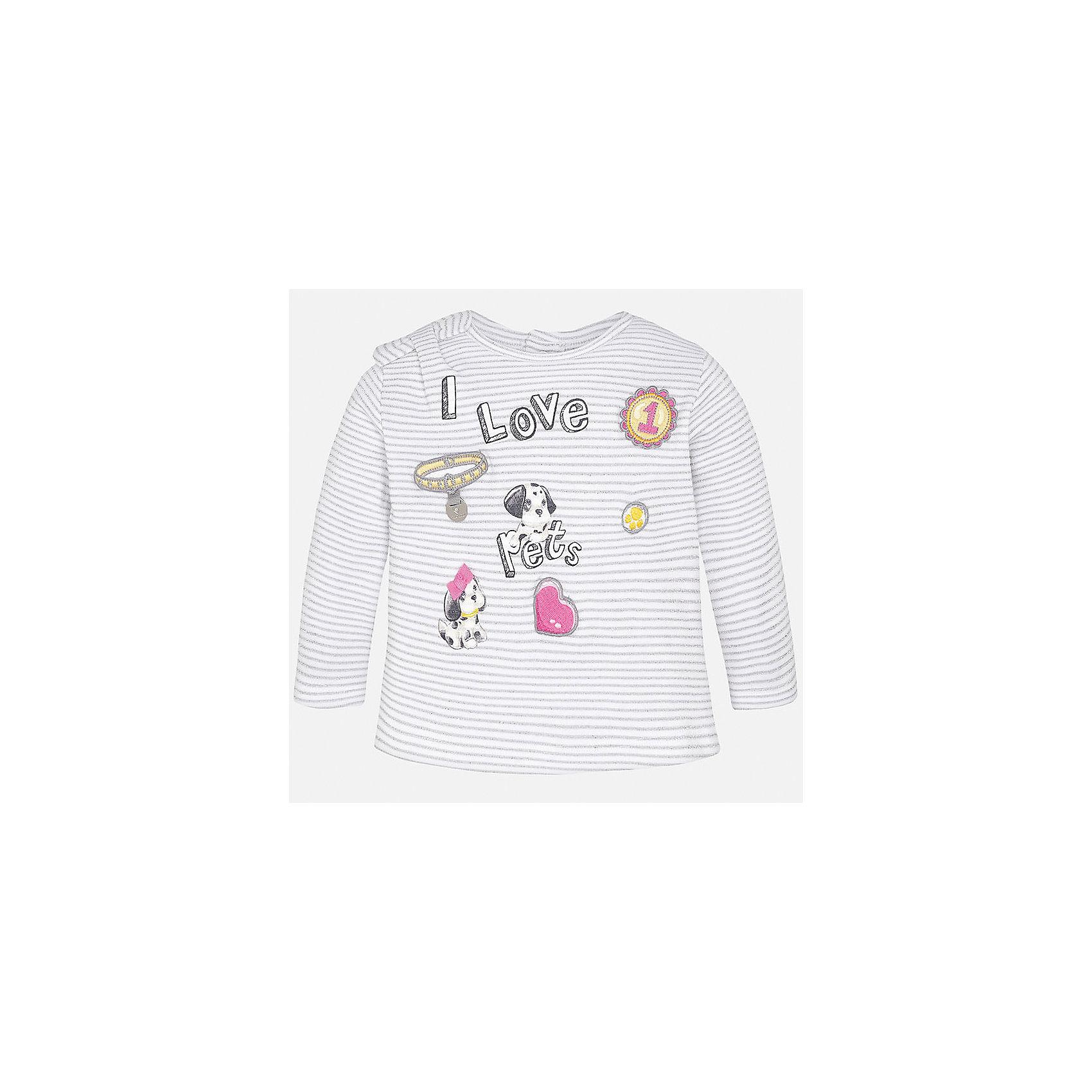 Футболка с длинным рукавом для девочки MayoralХарактеристики товара:<br><br>• цвет: серый<br>• состав: 84% хлопок, 16% металлизированная нить<br>• сзади кнопки<br>• бант на плече<br>• округлый горловой вырез<br>• длинные рукава<br>• принт<br>• страна бренда: Испания<br><br>Стильная качественная футболка с длинным рукавом для девочки поможет разнообразить гардероб ребенка и украсить наряд. Она отлично сочетается и с юбками, и с шортами, и с брюками. Универсальный цвет позволяет подобрать к вещи низ практически любой расцветки. Интересная отделка модели делает её нарядной и оригинальной. В составе ткани преобладает натуральный хлопок, гипоаллергенный, приятный на ощупь, дышащий.<br><br>Одежда, обувь и аксессуары от испанского бренда Mayoral полюбились детям и взрослым по всему миру. Модели этой марки - стильные и удобные. Для их производства используются только безопасные, качественные материалы и фурнитура. Порадуйте ребенка модными и красивыми вещами от Mayoral! <br><br>Футболку с длинным рукавом для девочки от испанского бренда Mayoral (Майорал) можно купить в нашем интернет-магазине.<br><br>Ширина мм: 230<br>Глубина мм: 40<br>Высота мм: 220<br>Вес г: 250<br>Цвет: серый<br>Возраст от месяцев: 18<br>Возраст до месяцев: 24<br>Пол: Женский<br>Возраст: Детский<br>Размер: 92,74,80,86<br>SKU: 5288856