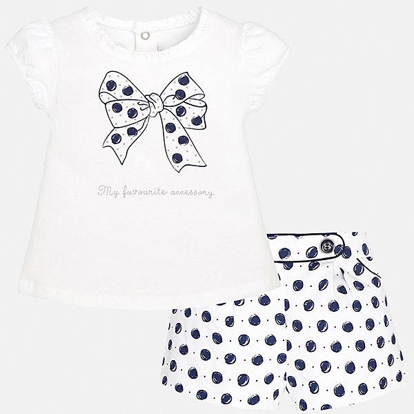Комплект: футболка и шорты для девочки MayoralКомплекты<br>Комплект: футболка и шорты для девочки от известной испанской марки Mayoral.<br><br>Ширина мм: 191<br>Глубина мм: 10<br>Высота мм: 175<br>Вес г: 273<br>Цвет: синий<br>Возраст от месяцев: 6<br>Возраст до месяцев: 9<br>Пол: Женский<br>Возраст: Детский<br>Размер: 74,92,86,80<br>SKU: 5288886