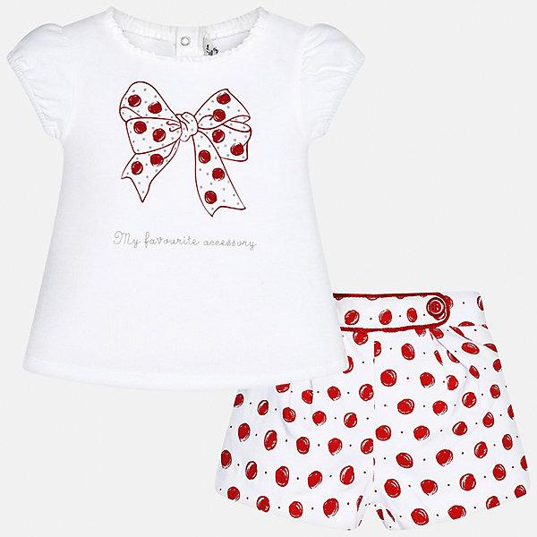 Комплект: футболка и шорты для девочки MayoralКомплекты<br>Комплект: футболка и шорты для девочки от известной испанской марки Mayoral.<br><br>Ширина мм: 191<br>Глубина мм: 10<br>Высота мм: 175<br>Вес г: 273<br>Цвет: красный<br>Возраст от месяцев: 6<br>Возраст до месяцев: 9<br>Пол: Женский<br>Возраст: Детский<br>Размер: 74,92,86,80<br>SKU: 5288891