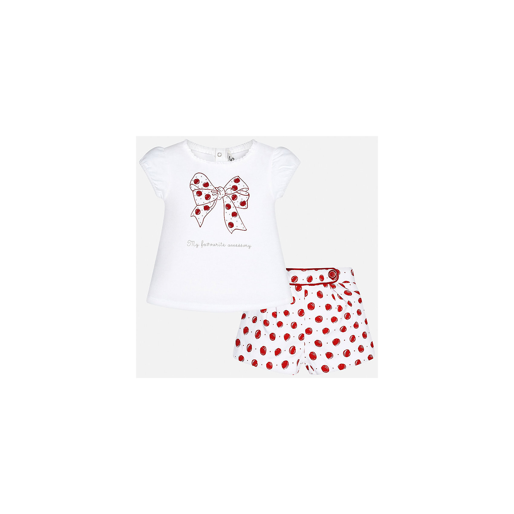 Комплект: футболка и шорты для девочки MayoralКомплекты<br>Комплект: футболка и шорты для девочки от известной испанской марки Mayoral.<br><br>Ширина мм: 191<br>Глубина мм: 10<br>Высота мм: 175<br>Вес г: 273<br>Цвет: красный<br>Возраст от месяцев: 6<br>Возраст до месяцев: 9<br>Пол: Женский<br>Возраст: Детский<br>Размер: 74,92,80,86<br>SKU: 5288891