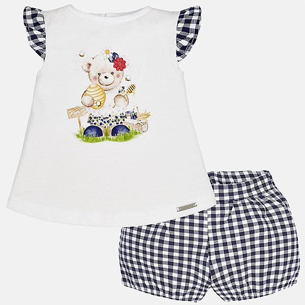 Комплект: футболка с длинным рукавом и шорты для девочки MayoralКомплекты<br>Комплект: футболка с длинным рукавом и шорты для девочки от известной испанской марки Mayoral.<br><br>Ширина мм: 191<br>Глубина мм: 10<br>Высота мм: 175<br>Вес г: 273<br>Цвет: синий<br>Возраст от месяцев: 6<br>Возраст до месяцев: 9<br>Пол: Женский<br>Возраст: Детский<br>Размер: 74,92,86,80<br>SKU: 5288901