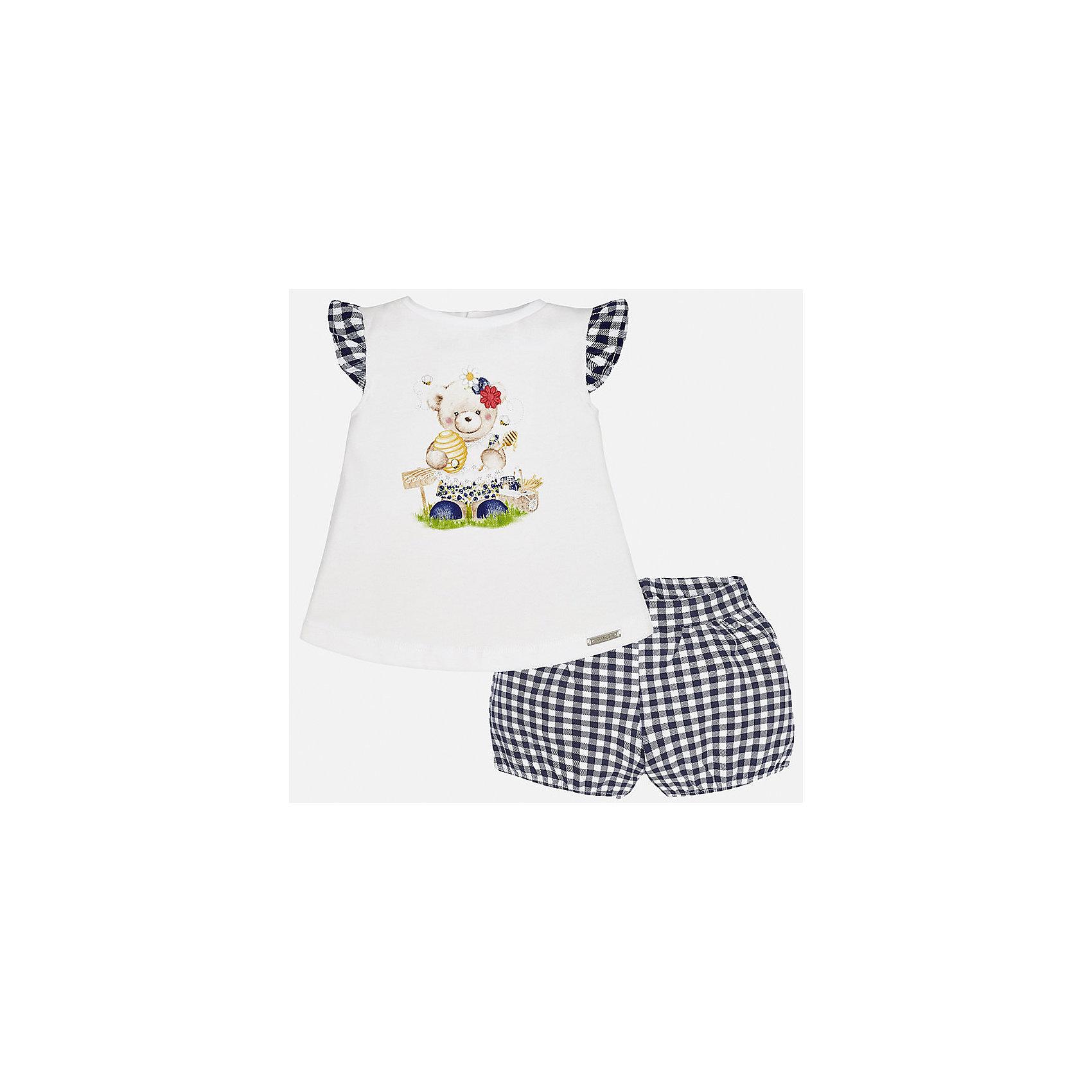 Комплект: футболка с длинным рукавом и шорты для девочки MayoralКомплекты<br>Комплект: футболка с длинным рукавом и шорты для девочки от известной испанской марки Mayoral.<br><br>Ширина мм: 191<br>Глубина мм: 10<br>Высота мм: 175<br>Вес г: 273<br>Цвет: синий<br>Возраст от месяцев: 12<br>Возраст до месяцев: 18<br>Пол: Женский<br>Возраст: Детский<br>Размер: 86,92,74,80<br>SKU: 5288901