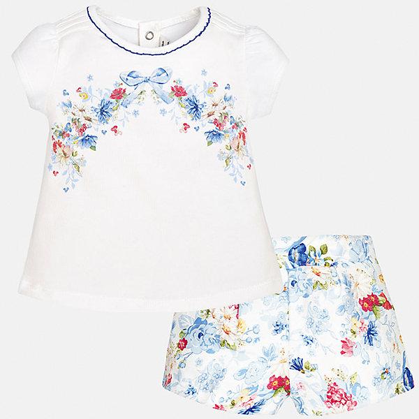 Комплект: футболка и шорты для девочки MayoralКомплекты<br>Комплект: футболка и шорты для девочки от известной испанской марки Mayoral.<br><br>Ширина мм: 191<br>Глубина мм: 10<br>Высота мм: 175<br>Вес г: 273<br>Цвет: синий<br>Возраст от месяцев: 6<br>Возраст до месяцев: 9<br>Пол: Женский<br>Возраст: Детский<br>Размер: 74,92,86,80<br>SKU: 5288906