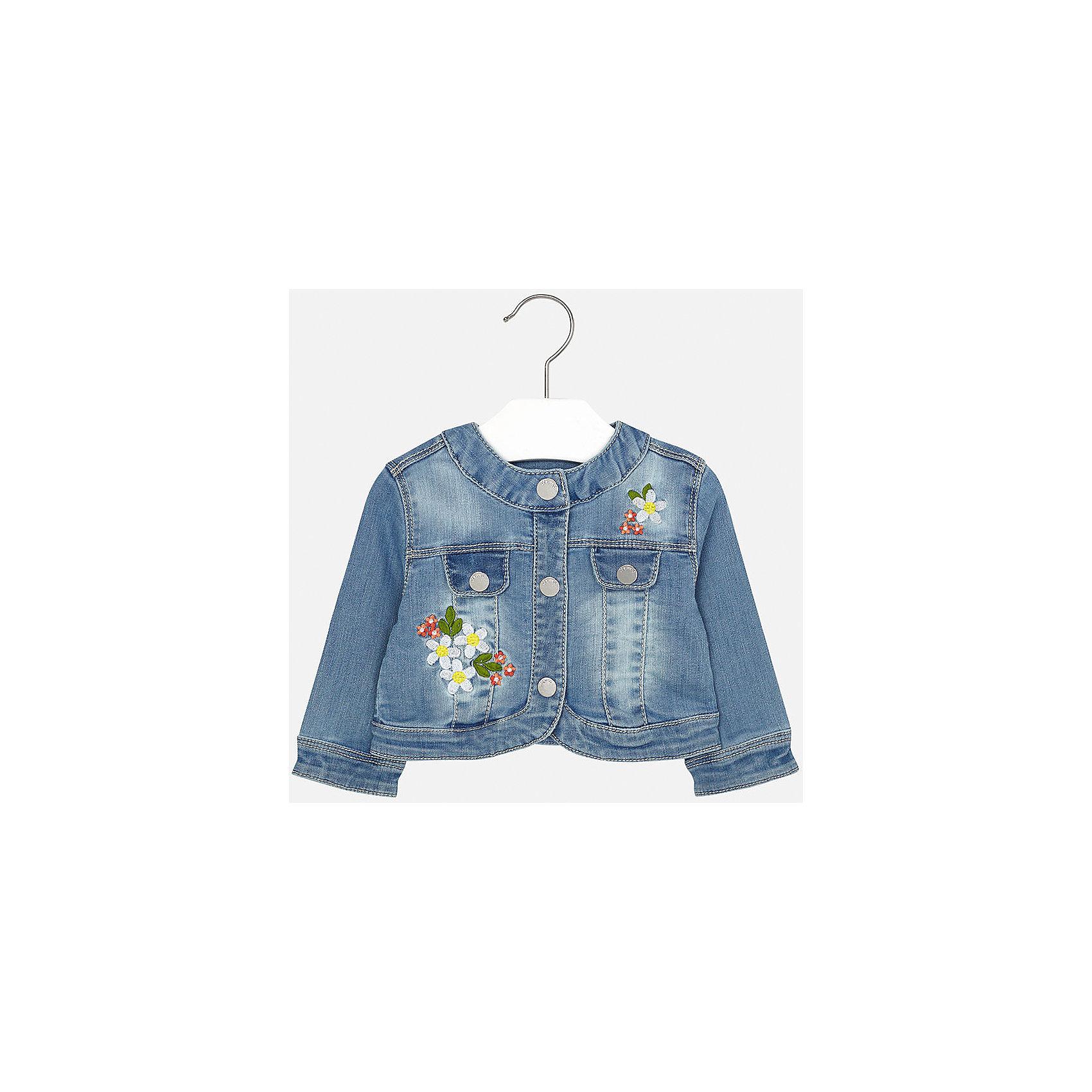 Куртка джинсовая для девочки MayoralВесенняя капель<br>Характеристики товара:<br><br>• цвет: синий<br>• состав: 81% хлопок, 17% полиэстер, 2% эластан<br>• застежка: кнопки<br>• карманы<br>• с длинными рукавами <br>• отложной воротник<br>• аппликация<br>• страна бренда: Испания<br><br>Модная удобная куртка для девочки поможет разнообразить гардероб ребенка. Она отлично сочетается и с юбками, и с брюками. Красивый цвет позволяет подобрать к вещи низ различных расцветок. Отличный способ придать наряду оригинальность!<br><br>Одежда, обувь и аксессуары от испанского бренда Mayoral полюбились детям и взрослым по всему миру. Модели этой марки - стильные и удобные. Для их производства используются только безопасные, качественные материалы и фурнитура. Порадуйте ребенка модными и красивыми вещами от Mayoral! <br><br>Куртку для девочки от испанского бренда Mayoral (Майорал) можно купить в нашем интернет-магазине.<br><br>Ширина мм: 356<br>Глубина мм: 10<br>Высота мм: 245<br>Вес г: 519<br>Цвет: синий<br>Возраст от месяцев: 6<br>Возраст до месяцев: 9<br>Пол: Женский<br>Возраст: Детский<br>Размер: 74,92,80,86<br>SKU: 5288936
