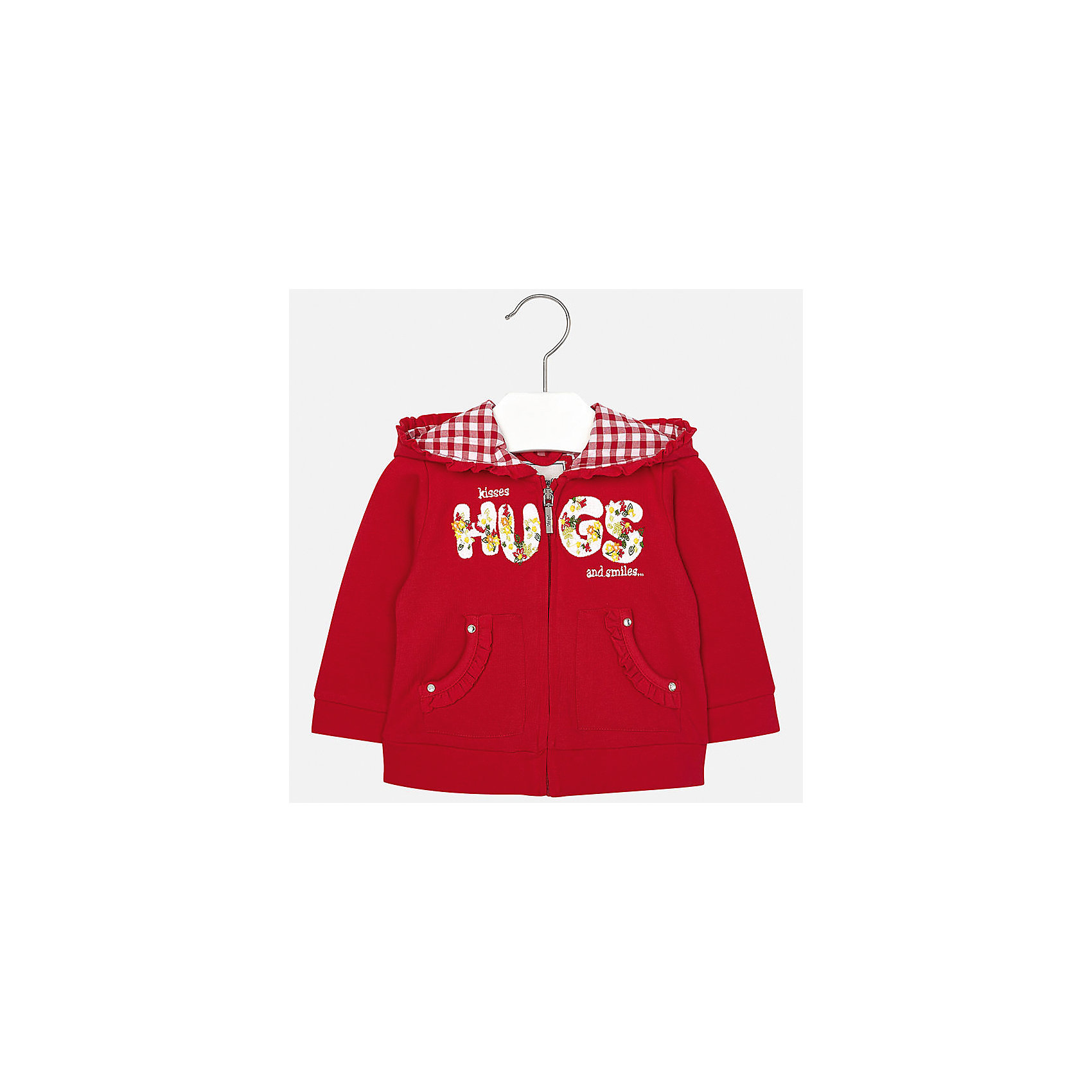Куртка для девочки MayoralХарактеристики товара:<br><br>• цвет: красный<br>• состав: 98% хлопок, 2% эластан<br>• застежка: молния<br>• декорирована вышивкой<br>• капюшон<br>• карманы<br>• оборка на капюшоне<br>• манжеты<br>• длинные рукава<br>• страна бренда: Испания<br><br>Симпатичная куртка для девочки поможет разнообразить гардероб ребенка и украсить наряд. Она отлично сочетается и с юбками, и с шортами, и с брюками. Универсальный цвет позволяет подобрать к вещи низ практически любой расцветки. Интересная отделка модели делает её нарядной и оригинальной. В составе материала - натуральный хлопок, гипоаллергенный, приятный на ощупь, дышащий.<br><br>Одежда, обувь и аксессуары от испанского бренда Mayoral полюбились детям и взрослым по всему миру. Модели этой марки - стильные и удобные. Для их производства используются только безопасные, качественные материалы и фурнитура. Порадуйте ребенка модными и красивыми вещами от Mayoral! <br><br>Куртку для девочки от испанского бренда Mayoral (Майорал) можно купить в нашем интернет-магазине.<br><br>Ширина мм: 356<br>Глубина мм: 10<br>Высота мм: 245<br>Вес г: 519<br>Цвет: красный<br>Возраст от месяцев: 6<br>Возраст до месяцев: 9<br>Пол: Женский<br>Возраст: Детский<br>Размер: 74,92,80,86<br>SKU: 5288946