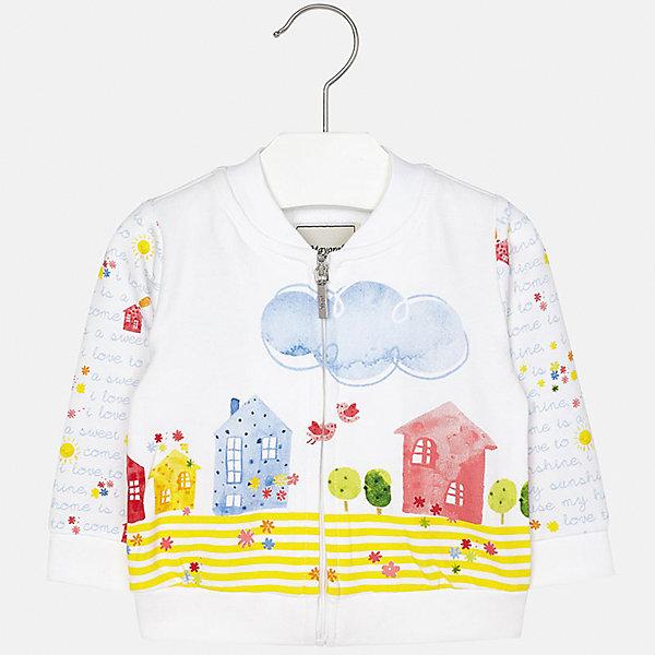 Куртка для девочки MayoralВерхняя одежда<br>Характеристики товара:<br><br>• цвет: белый<br>• состав: 95% хлопок, 5% эластан<br>• застежка: молния<br>• декорирована принтом<br>• манжеты<br>• длинные рукава<br>• страна бренда: Испания<br><br>Симпатичная куртка для девочки поможет разнообразить гардероб ребенка и украсить наряд. Она отлично сочетается и с юбками, и с шортами, и с брюками. Универсальный цвет позволяет подобрать к вещи низ практически любой расцветки. Интересная отделка модели делает её нарядной и оригинальной. В составе материала - натуральный хлопок, гипоаллергенный, приятный на ощупь, дышащий.<br><br>Одежда, обувь и аксессуары от испанского бренда Mayoral полюбились детям и взрослым по всему миру. Модели этой марки - стильные и удобные. Для их производства используются только безопасные, качественные материалы и фурнитура. Порадуйте ребенка модными и красивыми вещами от Mayoral! <br><br>Куртку для девочки от испанского бренда Mayoral (Майорал) можно купить в нашем интернет-магазине.<br><br>Ширина мм: 356<br>Глубина мм: 10<br>Высота мм: 245<br>Вес г: 519<br>Цвет: голубой<br>Возраст от месяцев: 6<br>Возраст до месяцев: 9<br>Пол: Женский<br>Возраст: Детский<br>Размер: 74,92,86,80<br>SKU: 5288951