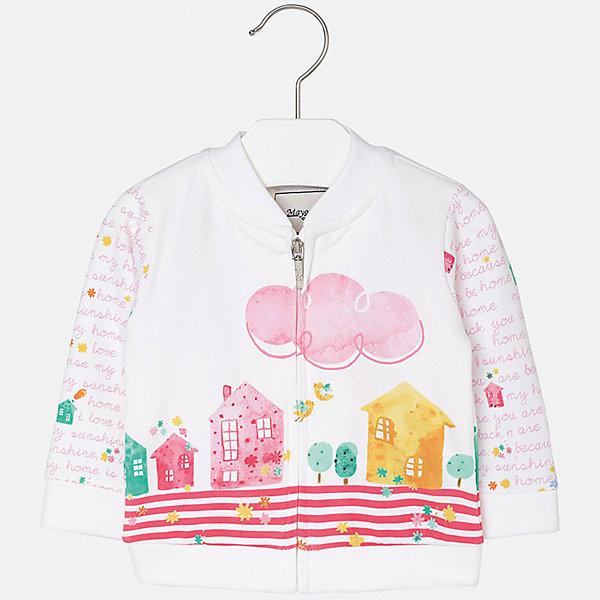 Куртка для девочки MayoralВерхняя одежда<br>Характеристики товара:<br><br>• цвет: белый<br>• состав: 95% хлопок, 5% эластан<br>• застежка: молния<br>• декорирована принтом<br>• манжеты<br>• длинные рукава<br>• страна бренда: Испания<br><br>Симпатичная куртка для девочки поможет разнообразить гардероб ребенка и украсить наряд. Она отлично сочетается и с юбками, и с шортами, и с брюками. Универсальный цвет позволяет подобрать к вещи низ практически любой расцветки. Интересная отделка модели делает её нарядной и оригинальной. В составе материала - натуральный хлопок, гипоаллергенный, приятный на ощупь, дышащий.<br><br>Одежда, обувь и аксессуары от испанского бренда Mayoral полюбились детям и взрослым по всему миру. Модели этой марки - стильные и удобные. Для их производства используются только безопасные, качественные материалы и фурнитура. Порадуйте ребенка модными и красивыми вещами от Mayoral! <br><br>Куртку для девочки от испанского бренда Mayoral (Майорал) можно купить в нашем интернет-магазине.<br><br>Ширина мм: 356<br>Глубина мм: 10<br>Высота мм: 245<br>Вес г: 519<br>Цвет: розовый<br>Возраст от месяцев: 6<br>Возраст до месяцев: 9<br>Пол: Женский<br>Возраст: Детский<br>Размер: 74,92,86,80<br>SKU: 5288956