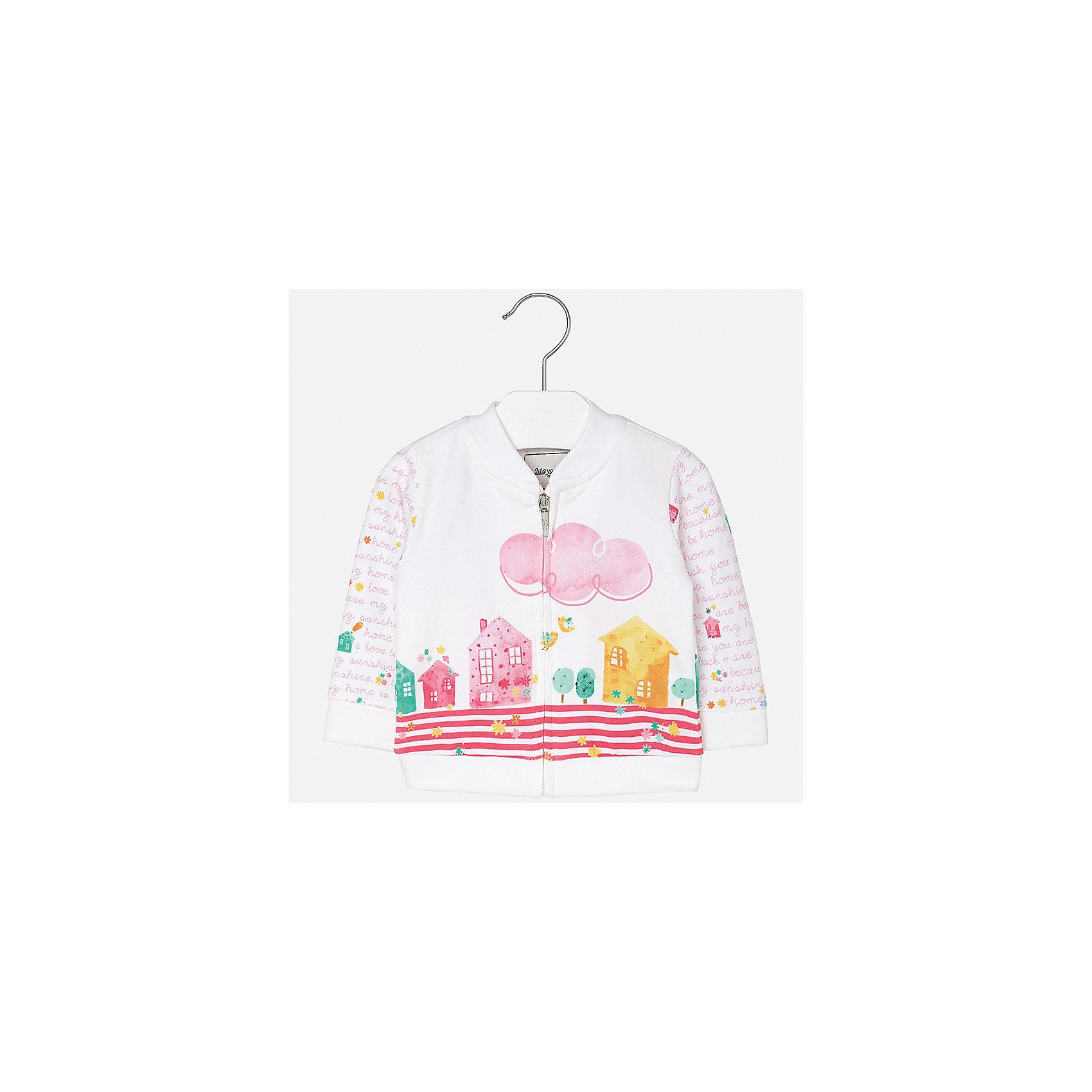 Куртка для девочки MayoralХарактеристики товара:<br><br>• цвет: белый<br>• состав: 95% хлопок, 5% эластан<br>• застежка: молния<br>• декорирована принтом<br>• манжеты<br>• длинные рукава<br>• страна бренда: Испания<br><br>Симпатичная куртка для девочки поможет разнообразить гардероб ребенка и украсить наряд. Она отлично сочетается и с юбками, и с шортами, и с брюками. Универсальный цвет позволяет подобрать к вещи низ практически любой расцветки. Интересная отделка модели делает её нарядной и оригинальной. В составе материала - натуральный хлопок, гипоаллергенный, приятный на ощупь, дышащий.<br><br>Одежда, обувь и аксессуары от испанского бренда Mayoral полюбились детям и взрослым по всему миру. Модели этой марки - стильные и удобные. Для их производства используются только безопасные, качественные материалы и фурнитура. Порадуйте ребенка модными и красивыми вещами от Mayoral! <br><br>Куртку для девочки от испанского бренда Mayoral (Майорал) можно купить в нашем интернет-магазине.<br><br>Ширина мм: 356<br>Глубина мм: 10<br>Высота мм: 245<br>Вес г: 519<br>Цвет: розовый<br>Возраст от месяцев: 18<br>Возраст до месяцев: 24<br>Пол: Женский<br>Возраст: Детский<br>Размер: 92,74,80,86<br>SKU: 5288956