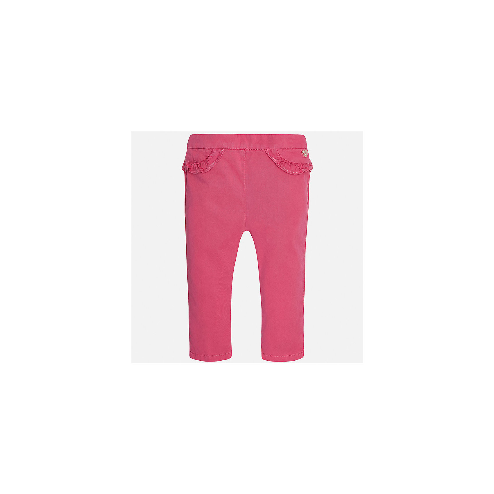 Брюки для девочки MayoralБрюки<br>Характеристики товара:<br><br>• цвет: розовый<br>• состав: 98% хлопок, 2% эластан<br>• оборки возле на талии<br>• логотип<br>• интересный крой<br>• яркий цвет<br>• страна бренда: Испания<br><br>Модные оригинальные брюки для девочки смогут разнообразить гардероб ребенка и украсить наряд. Они отлично сочетаются с майками, футболками, блузками. Красивый оттенок позволяет подобрать к вещи верх разных расцветок. Интересный крой модели делает её нарядной и оригинальной. <br><br>Одежда, обувь и аксессуары от испанского бренда Mayoral полюбились детям и взрослым по всему миру. Модели этой марки - стильные и удобные. Для их производства используются только безопасные, качественные материалы и фурнитура. Порадуйте ребенка модными и красивыми вещами от Mayoral! <br><br>Брюки для девочки от испанского бренда Mayoral (Майорал) можно купить в нашем интернет-магазине.<br><br>Ширина мм: 215<br>Глубина мм: 88<br>Высота мм: 191<br>Вес г: 336<br>Цвет: розовый<br>Возраст от месяцев: 18<br>Возраст до месяцев: 24<br>Пол: Женский<br>Возраст: Детский<br>Размер: 92,74,80,86<br>SKU: 5288981