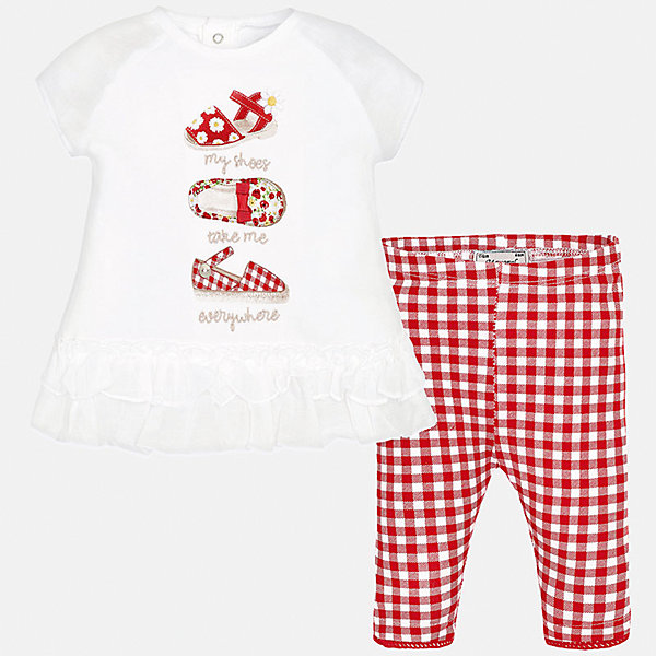Комплект: футболка с длинным рукавом и бриджи для девочки MayoralКомплекты<br>Комплект: футболка с длинным рукавом и бриджи для девочки от известной испанской марки Mayoral.<br><br>Ширина мм: 191<br>Глубина мм: 10<br>Высота мм: 175<br>Вес г: 273<br>Цвет: красный<br>Возраст от месяцев: 6<br>Возраст до месяцев: 9<br>Пол: Женский<br>Возраст: Детский<br>Размер: 74,80,92,86<br>SKU: 5289001