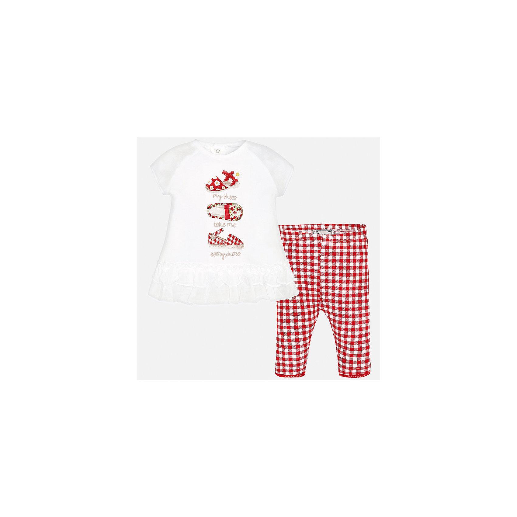 Комплект: футболка с длинным рукавом и бриджи для девочки MayoralКомплекты<br>Комплект: футболка с длинным рукавом и бриджи для девочки от известной испанской марки Mayoral.<br><br>Ширина мм: 191<br>Глубина мм: 10<br>Высота мм: 175<br>Вес г: 273<br>Цвет: красный<br>Возраст от месяцев: 6<br>Возраст до месяцев: 9<br>Пол: Женский<br>Возраст: Детский<br>Размер: 74,92,80,86<br>SKU: 5289001