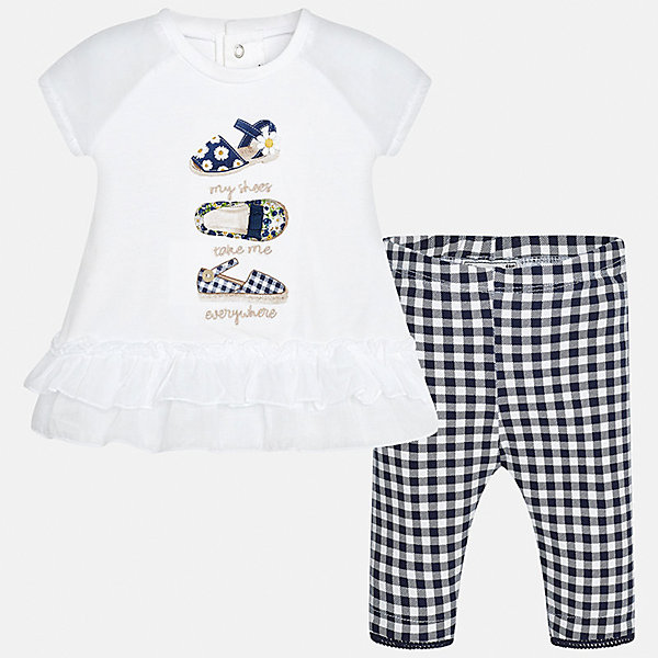 Комплект: футболка с длинным рукавом и бриджи для девочки MayoralКомплекты<br>Комплект: футболка с длинным рукавом и бриджи для девочки от известной испанской марки Mayoral.<br>Ширина мм: 191; Глубина мм: 10; Высота мм: 175; Вес г: 273; Цвет: синий; Возраст от месяцев: 6; Возраст до месяцев: 9; Пол: Женский; Возраст: Детский; Размер: 74,92,86,80; SKU: 5289006;