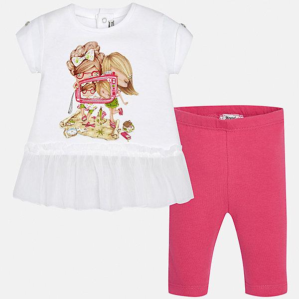 Комплект: футболка и леггинсы для девочки MayoralКомплекты<br>Характеристики товара:<br><br>• цвет: белый/розовый<br>• состав: 95% хлопок, 5% эластан<br>• комплектация: футболка и леггинсы<br>• футболка декорирована принтом<br>• леггинсы однотонные<br>• пояс на резинке<br>• страна бренда: Испания<br><br>Стильный качественный комплект для девочки поможет разнообразить гардероб ребенка и удобно одеться в теплую погоду. Он отлично сочетается с другими предметами. Универсальный цвет позволяет подобрать к вещам верхнюю одежду практически любой расцветки. Интересная отделка модели делает её нарядной и оригинальной. В составе материала - натуральный хлопок, гипоаллергенный, приятный на ощупь, дышащий.<br><br>Одежда, обувь и аксессуары от испанского бренда Mayoral полюбились детям и взрослым по всему миру. Модели этой марки - стильные и удобные. Для их производства используются только безопасные, качественные материалы и фурнитура. Порадуйте ребенка модными и красивыми вещами от Mayoral! <br><br>Комплект: футболка и леггинсы для девочки от испанского бренда Mayoral (Майорал) можно купить в нашем интернет-магазине.<br><br>Ширина мм: 191<br>Глубина мм: 10<br>Высота мм: 175<br>Вес г: 273<br>Цвет: розовый<br>Возраст от месяцев: 6<br>Возраст до месяцев: 9<br>Пол: Женский<br>Возраст: Детский<br>Размер: 74,92,86,80<br>SKU: 5289011