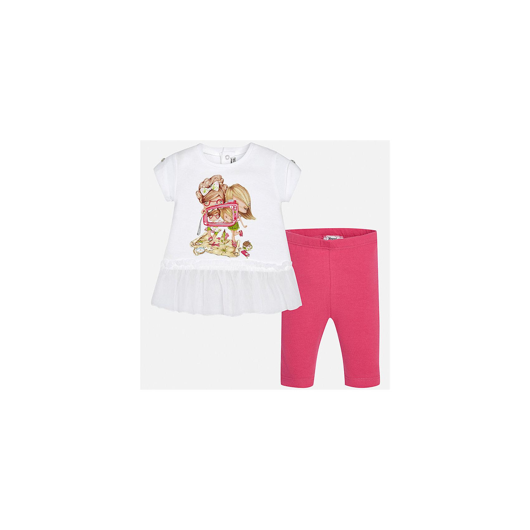 Комплект: футболка и леггинсы для девочки MayoralКомплекты<br>Характеристики товара:<br><br>• цвет: белый/розовый<br>• состав: 95% хлопок, 5% эластан<br>• комплектация: футболка и леггинсы<br>• футболка декорирована принтом<br>• леггинсы однотонные<br>• пояс на резинке<br>• страна бренда: Испания<br><br>Стильный качественный комплект для девочки поможет разнообразить гардероб ребенка и удобно одеться в теплую погоду. Он отлично сочетается с другими предметами. Универсальный цвет позволяет подобрать к вещам верхнюю одежду практически любой расцветки. Интересная отделка модели делает её нарядной и оригинальной. В составе материала - натуральный хлопок, гипоаллергенный, приятный на ощупь, дышащий.<br><br>Одежда, обувь и аксессуары от испанского бренда Mayoral полюбились детям и взрослым по всему миру. Модели этой марки - стильные и удобные. Для их производства используются только безопасные, качественные материалы и фурнитура. Порадуйте ребенка модными и красивыми вещами от Mayoral! <br><br>Комплект: футболка и леггинсы для девочки от испанского бренда Mayoral (Майорал) можно купить в нашем интернет-магазине.<br><br>Ширина мм: 191<br>Глубина мм: 10<br>Высота мм: 175<br>Вес г: 273<br>Цвет: розовый<br>Возраст от месяцев: 6<br>Возраст до месяцев: 9<br>Пол: Женский<br>Возраст: Детский<br>Размер: 74,92,80,86<br>SKU: 5289011