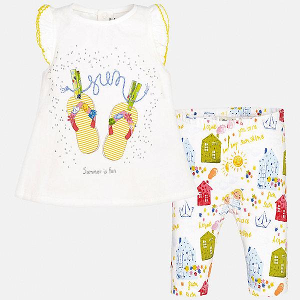 Комплект: футболка и леггинсы для девочки MayoralКомплекты<br>Характеристики товара:<br><br>• цвет: белый принт<br>• состав: 92% хлопок, 8% эластан<br>• комплектация: футболка и леггинсы<br>• футболка декорирована принтом, сзади кнопки<br>• леггинсы декорированы принтом<br>• пояс на резинке<br>• страна бренда: Испания<br><br>Стильный качественный комплект для девочки поможет разнообразить гардероб ребенка и удобно одеться в теплую погоду. Он отлично сочетается с другими предметами. Универсальный цвет позволяет подобрать к вещам верхнюю одежду практически любой расцветки. Интересная отделка модели делает её нарядной и оригинальной. В составе материала - натуральный хлопок, гипоаллергенный, приятный на ощупь, дышащий.<br><br>Одежда, обувь и аксессуары от испанского бренда Mayoral полюбились детям и взрослым по всему миру. Модели этой марки - стильные и удобные. Для их производства используются только безопасные, качественные материалы и фурнитура. Порадуйте ребенка модными и красивыми вещами от Mayoral! <br><br>Комплект: футболка и леггинсы для девочки от испанского бренда Mayoral (Майорал) можно купить в нашем интернет-магазине.<br><br>Ширина мм: 191<br>Глубина мм: 10<br>Высота мм: 175<br>Вес г: 273<br>Цвет: желтый<br>Возраст от месяцев: 12<br>Возраст до месяцев: 15<br>Пол: Женский<br>Возраст: Детский<br>Размер: 80,74,92,86<br>SKU: 5289021