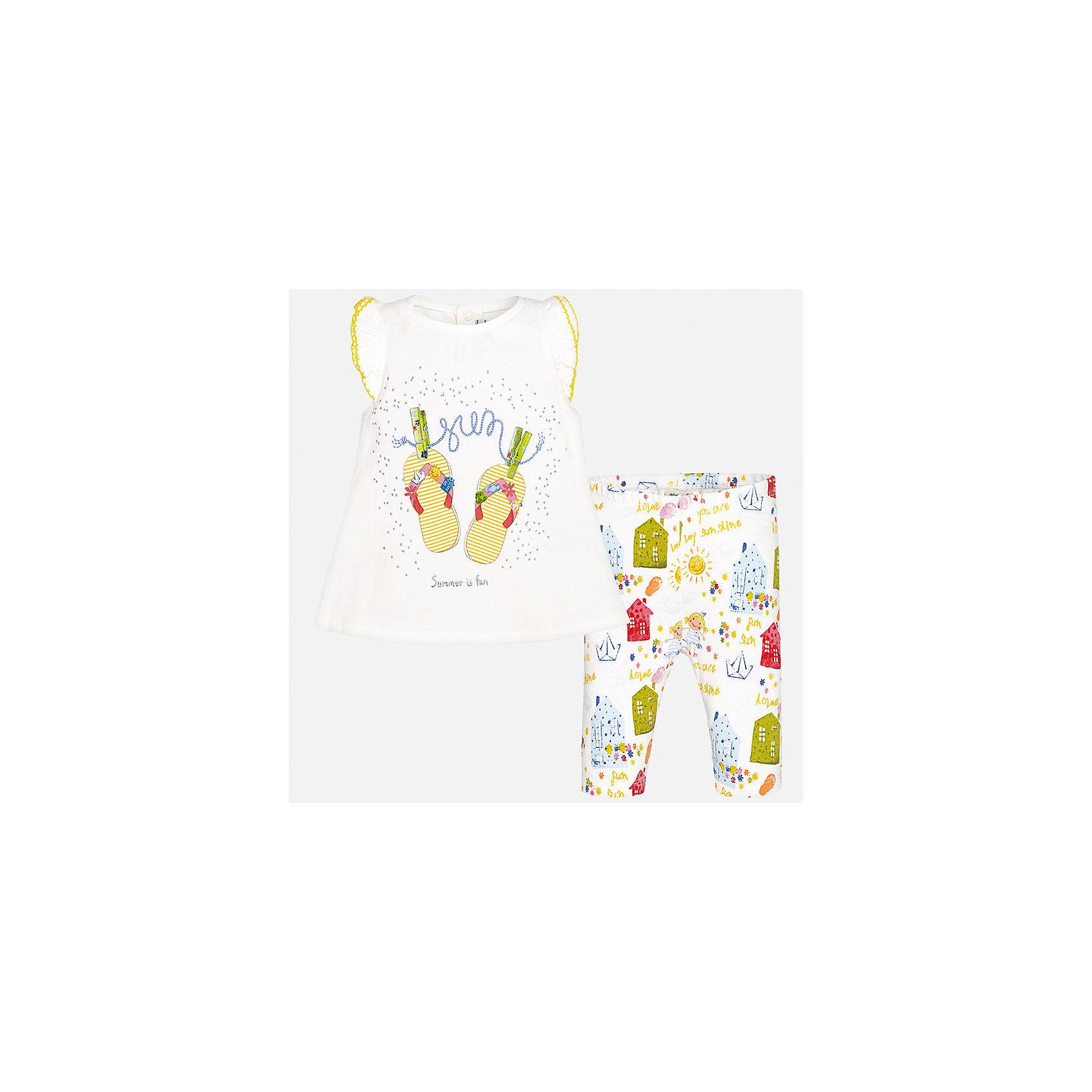 Комплект: футболка и леггинсы для девочки MayoralКомплекты<br>Характеристики товара:<br><br>• цвет: белый принт<br>• состав: 92% хлопок, 8% эластан<br>• комплектация: футболка и леггинсы<br>• футболка декорирована принтом, сзади кнопки<br>• леггинсы декорированы принтом<br>• пояс на резинке<br>• страна бренда: Испания<br><br>Стильный качественный комплект для девочки поможет разнообразить гардероб ребенка и удобно одеться в теплую погоду. Он отлично сочетается с другими предметами. Универсальный цвет позволяет подобрать к вещам верхнюю одежду практически любой расцветки. Интересная отделка модели делает её нарядной и оригинальной. В составе материала - натуральный хлопок, гипоаллергенный, приятный на ощупь, дышащий.<br><br>Одежда, обувь и аксессуары от испанского бренда Mayoral полюбились детям и взрослым по всему миру. Модели этой марки - стильные и удобные. Для их производства используются только безопасные, качественные материалы и фурнитура. Порадуйте ребенка модными и красивыми вещами от Mayoral! <br><br>Комплект: футболка и леггинсы для девочки от испанского бренда Mayoral (Майорал) можно купить в нашем интернет-магазине.<br><br>Ширина мм: 191<br>Глубина мм: 10<br>Высота мм: 175<br>Вес г: 273<br>Цвет: желтый<br>Возраст от месяцев: 6<br>Возраст до месяцев: 9<br>Пол: Женский<br>Возраст: Детский<br>Размер: 74,92,80,86<br>SKU: 5289021