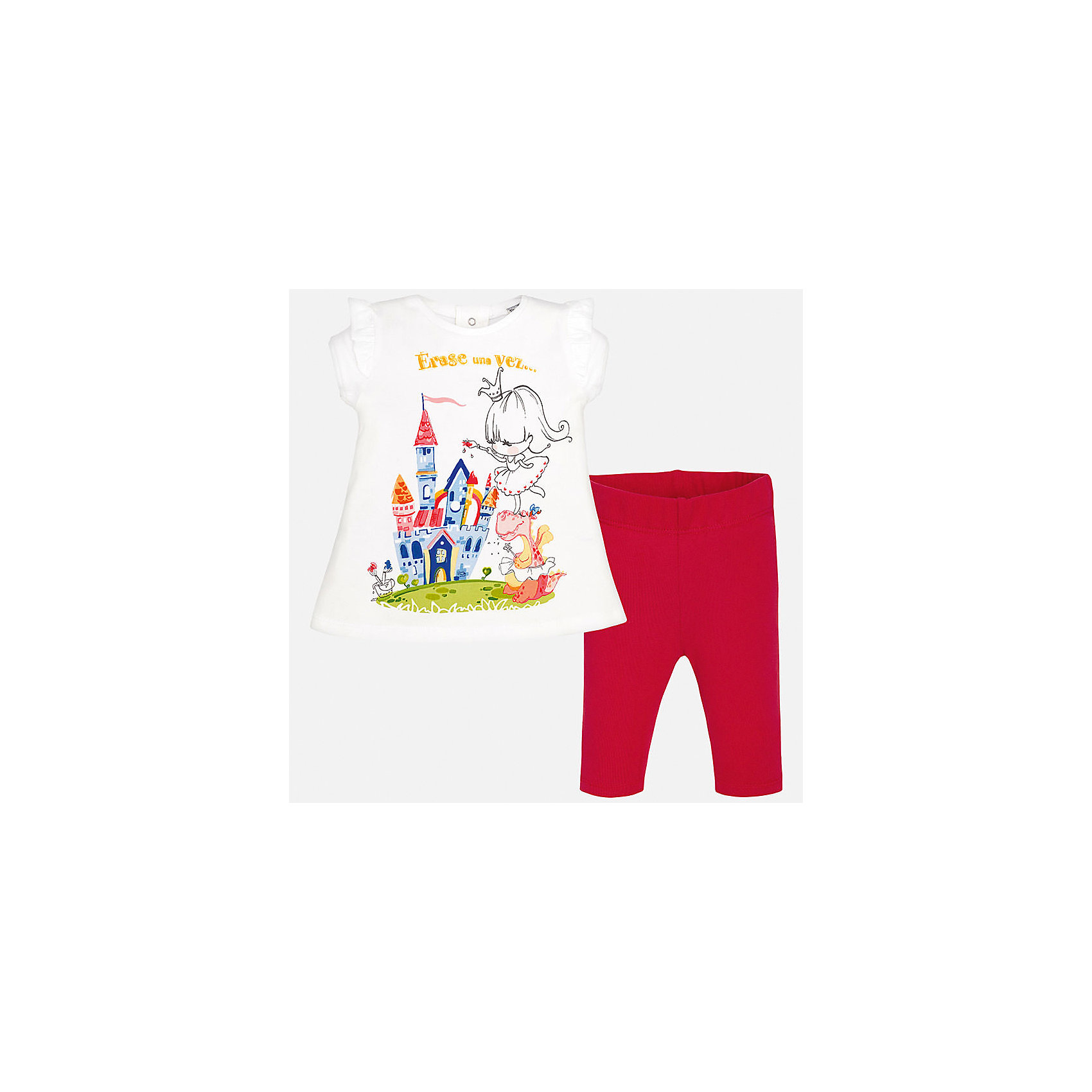 Комплект: футболка и леггинсы для девочки MayoralКомплекты<br>Характеристики товара:<br><br>• цвет: белый/красный<br>• состав: 98% хлопок, 2% эластан<br>• комплектация: футболка и леггинсы<br>• футболка декорирована принтом<br>• леггинсы однотонные<br>• пояс на резинке<br>• страна бренда: Испания<br><br>Стильный качественный комплект для девочки поможет разнообразить гардероб ребенка и удобно одеться в теплую погоду. Он отлично сочетается с другими предметами. Универсальный цвет позволяет подобрать к вещам верхнюю одежду практически любой расцветки. Интересная отделка модели делает её нарядной и оригинальной. В составе материала - натуральный хлопок, гипоаллергенный, приятный на ощупь, дышащий.<br><br>Одежда, обувь и аксессуары от испанского бренда Mayoral полюбились детям и взрослым по всему миру. Модели этой марки - стильные и удобные. Для их производства используются только безопасные, качественные материалы и фурнитура. Порадуйте ребенка модными и красивыми вещами от Mayoral! <br><br>Комплект: футболка и леггинсы для девочки от испанского бренда Mayoral (Майорал) можно купить в нашем интернет-магазине.<br><br>Ширина мм: 123<br>Глубина мм: 10<br>Высота мм: 149<br>Вес г: 209<br>Цвет: красный<br>Возраст от месяцев: 18<br>Возраст до месяцев: 24<br>Пол: Женский<br>Возраст: Детский<br>Размер: 92,74,80,86<br>SKU: 5289074