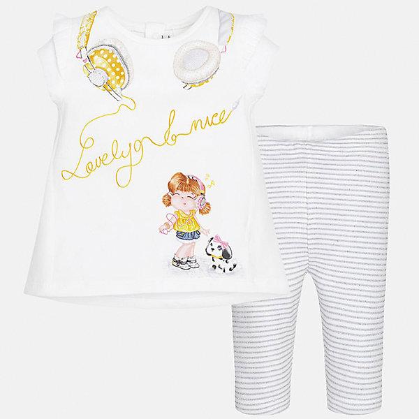 Комплект: футболка и леггинсы для девочки MayoralКомплекты<br>Характеристики товара:<br><br>• цвет: белый/серый<br>• состав: 92% хлопок, 8% эластан<br>• комплектация: футболка и леггинсы<br>• футболка декорирована принтом<br>• леггинсы в полоску<br>• пояс на резинке<br>• страна бренда: Испания<br><br>Стильный качественный комплект для девочки поможет разнообразить гардероб ребенка и удобно одеться в теплую погоду. Он отлично сочетается с другими предметами. Универсальный цвет позволяет подобрать к вещам верхнюю одежду практически любой расцветки. Интересная отделка модели делает её нарядной и оригинальной. В составе материала - натуральный хлопок, гипоаллергенный, приятный на ощупь, дышащий.<br><br>Одежда, обувь и аксессуары от испанского бренда Mayoral полюбились детям и взрослым по всему миру. Модели этой марки - стильные и удобные. Для их производства используются только безопасные, качественные материалы и фурнитура. Порадуйте ребенка модными и красивыми вещами от Mayoral! <br><br>Комплект: футболка и леггинсы для девочки от испанского бренда Mayoral (Майорал) можно купить в нашем интернет-магазине.<br>Ширина мм: 123; Глубина мм: 10; Высота мм: 149; Вес г: 209; Цвет: серый; Возраст от месяцев: 6; Возраст до месяцев: 9; Пол: Женский; Возраст: Детский; Размер: 74,92,86,80; SKU: 5289128;