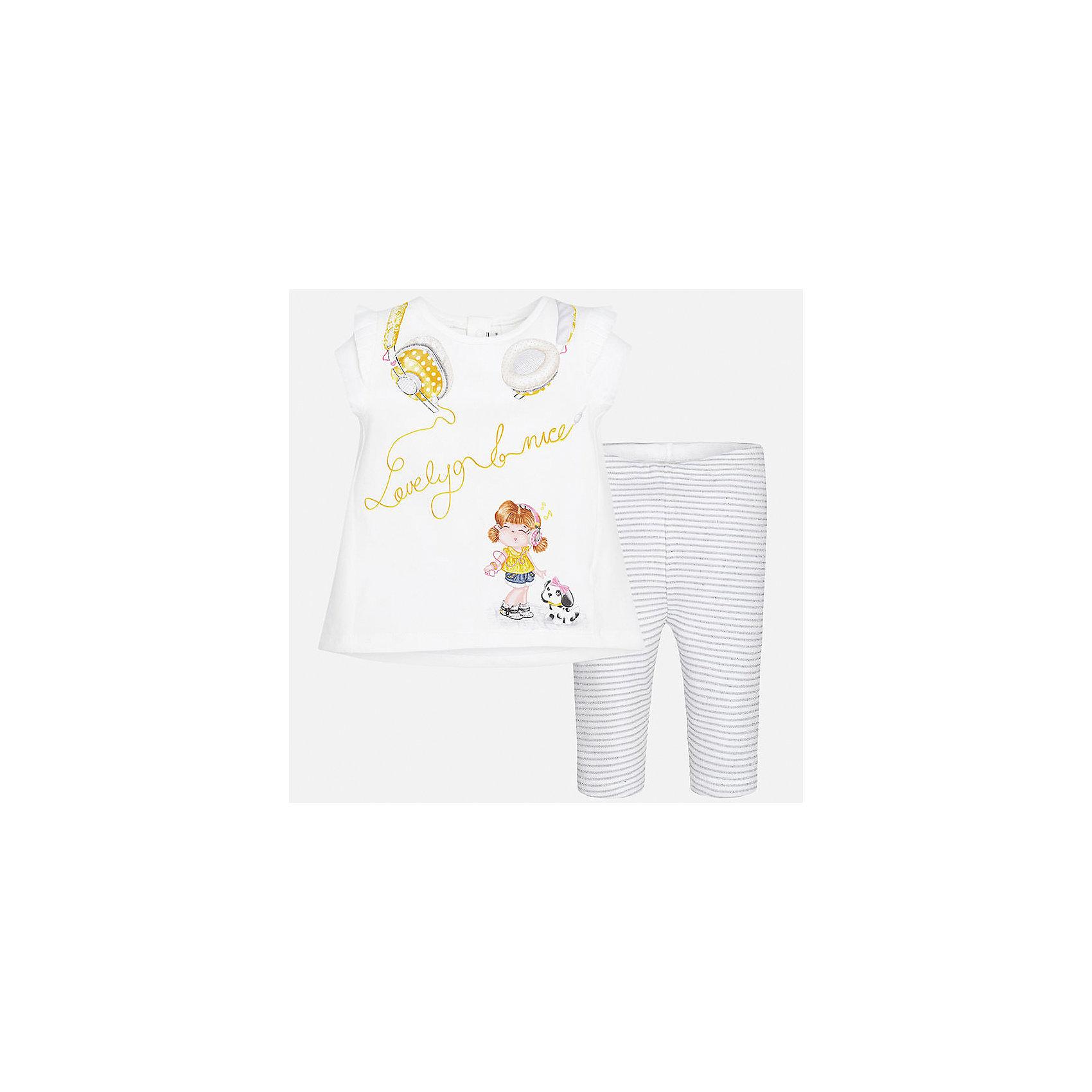 Комплект: футболка и леггинсы для девочки MayoralКомплекты<br>Характеристики товара:<br><br>• цвет: белый/серый<br>• состав: 92% хлопок, 8% эластан<br>• комплектация: футболка и леггинсы<br>• футболка декорирована принтом<br>• леггинсы в полоску<br>• пояс на резинке<br>• страна бренда: Испания<br><br>Стильный качественный комплект для девочки поможет разнообразить гардероб ребенка и удобно одеться в теплую погоду. Он отлично сочетается с другими предметами. Универсальный цвет позволяет подобрать к вещам верхнюю одежду практически любой расцветки. Интересная отделка модели делает её нарядной и оригинальной. В составе материала - натуральный хлопок, гипоаллергенный, приятный на ощупь, дышащий.<br><br>Одежда, обувь и аксессуары от испанского бренда Mayoral полюбились детям и взрослым по всему миру. Модели этой марки - стильные и удобные. Для их производства используются только безопасные, качественные материалы и фурнитура. Порадуйте ребенка модными и красивыми вещами от Mayoral! <br><br>Комплект: футболка и леггинсы для девочки от испанского бренда Mayoral (Майорал) можно купить в нашем интернет-магазине.<br><br>Ширина мм: 123<br>Глубина мм: 10<br>Высота мм: 149<br>Вес г: 209<br>Цвет: серый<br>Возраст от месяцев: 6<br>Возраст до месяцев: 9<br>Пол: Женский<br>Возраст: Детский<br>Размер: 74,92,86,80<br>SKU: 5289128