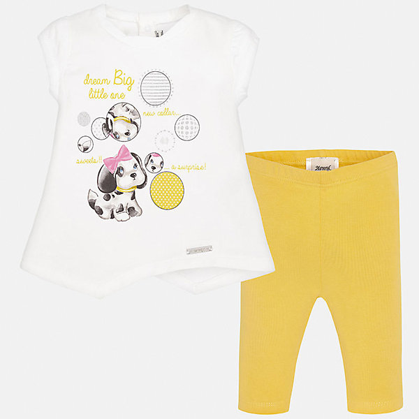Комплект: футболка и леггинсы для девочки MayoralКомплекты<br>Характеристики товара:<br><br>• цвет: белый/желтый<br>• состав: 92% хлопок, 8% эластан<br>• комплектация: футболка и леггинсы<br>• футболка декорирована принтом<br>• леггинсы однотонные<br>• пояс на резинке<br>• страна бренда: Испания<br><br>Стильный качественный комплект для девочки поможет разнообразить гардероб ребенка и удобно одеться в теплую погоду. Он отлично сочетается с другими предметами. Универсальный цвет позволяет подобрать к вещам верхнюю одежду практически любой расцветки. Интересная отделка модели делает её нарядной и оригинальной. В составе материала - натуральный хлопок, гипоаллергенный, приятный на ощупь, дышащий.<br><br>Одежда, обувь и аксессуары от испанского бренда Mayoral полюбились детям и взрослым по всему миру. Модели этой марки - стильные и удобные. Для их производства используются только безопасные, качественные материалы и фурнитура. Порадуйте ребенка модными и красивыми вещами от Mayoral! <br><br>Комплект: футболка и леггинсы для девочки от испанского бренда Mayoral (Майорал) можно купить в нашем интернет-магазине.<br>Ширина мм: 123; Глубина мм: 10; Высота мм: 149; Вес г: 209; Цвет: желтый; Возраст от месяцев: 6; Возраст до месяцев: 9; Пол: Женский; Возраст: Детский; Размер: 74,92,86,80; SKU: 5289138;