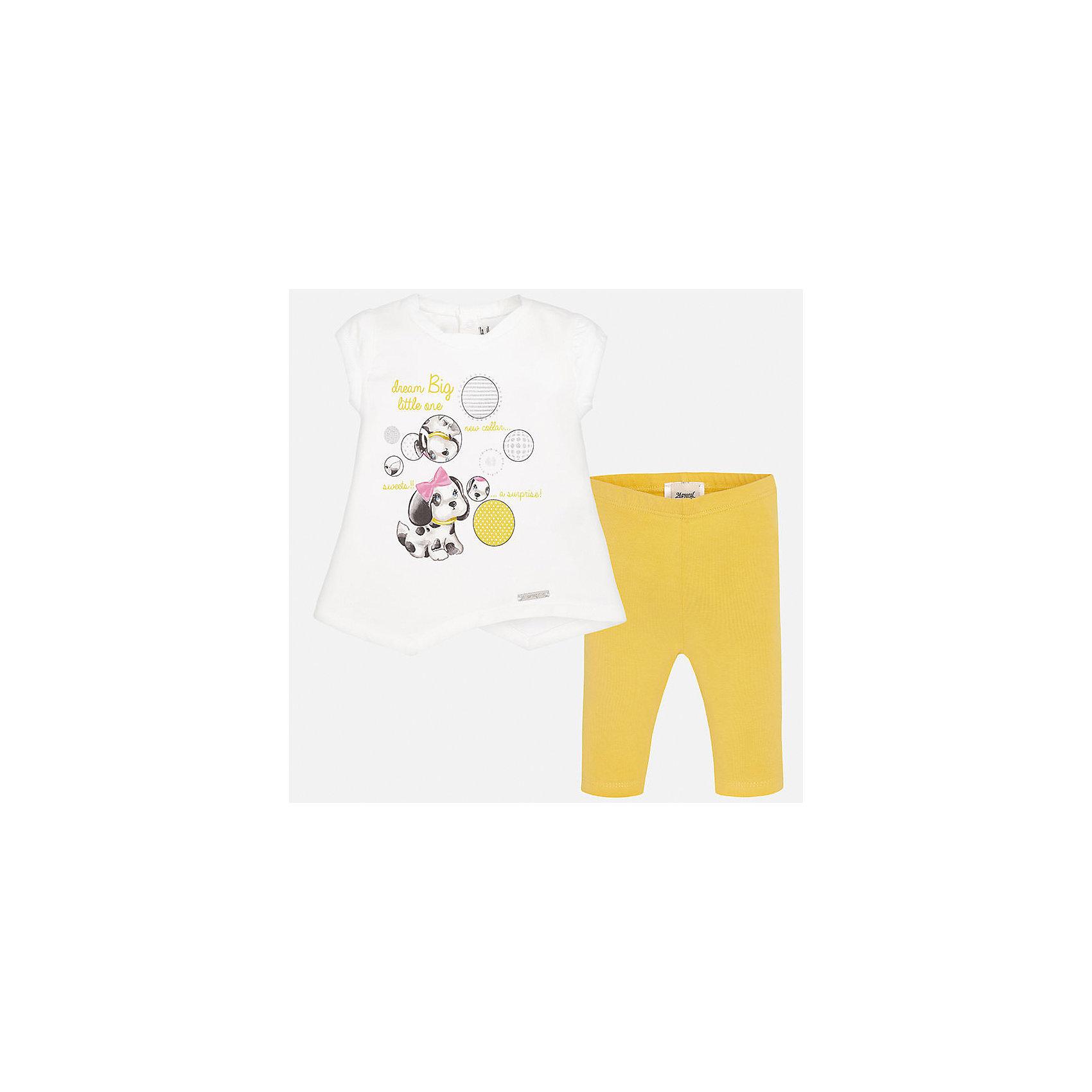 Комплект: футболка и леггинсы для девочки MayoralКомплекты<br>Характеристики товара:<br><br>• цвет: белый/желтый<br>• состав: 92% хлопок, 8% эластан<br>• комплектация: футболка и леггинсы<br>• футболка декорирована принтом<br>• леггинсы однотонные<br>• пояс на резинке<br>• страна бренда: Испания<br><br>Стильный качественный комплект для девочки поможет разнообразить гардероб ребенка и удобно одеться в теплую погоду. Он отлично сочетается с другими предметами. Универсальный цвет позволяет подобрать к вещам верхнюю одежду практически любой расцветки. Интересная отделка модели делает её нарядной и оригинальной. В составе материала - натуральный хлопок, гипоаллергенный, приятный на ощупь, дышащий.<br><br>Одежда, обувь и аксессуары от испанского бренда Mayoral полюбились детям и взрослым по всему миру. Модели этой марки - стильные и удобные. Для их производства используются только безопасные, качественные материалы и фурнитура. Порадуйте ребенка модными и красивыми вещами от Mayoral! <br><br>Комплект: футболка и леггинсы для девочки от испанского бренда Mayoral (Майорал) можно купить в нашем интернет-магазине.<br><br>Ширина мм: 123<br>Глубина мм: 10<br>Высота мм: 149<br>Вес г: 209<br>Цвет: желтый<br>Возраст от месяцев: 6<br>Возраст до месяцев: 9<br>Пол: Женский<br>Возраст: Детский<br>Размер: 74,92,86,80<br>SKU: 5289138