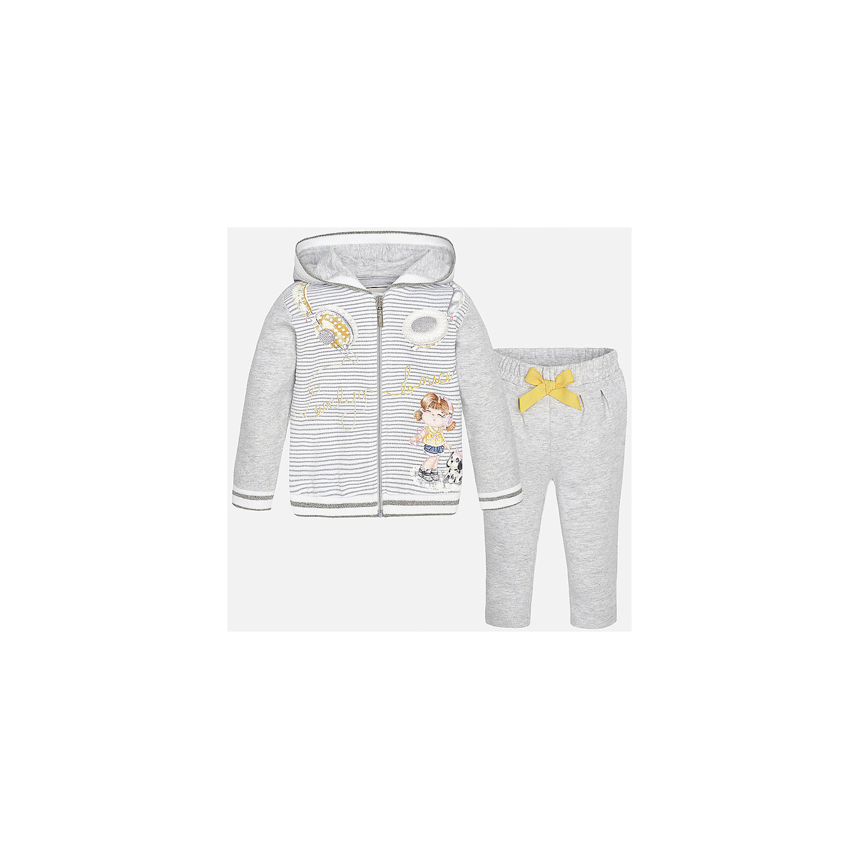 Спортивный костюм для девочки MayoralКомплекты<br>Характеристики товара:<br><br>• цвет: серый<br>• состав: 98% хлопок, 1% металлизированная нить, 1% эластан<br>• комплектация: курточка, штаны<br>• куртка декорирована принтом<br>• карманы<br>• капюшон<br>• штаны однотонные<br>• пояс на резинке<br>• бант<br>• страна бренда: Испания<br><br>Стильный качественный спортивный костюм для девочки поможет разнообразить гардероб ребенка и удобно одеться в теплую погоду. Курточка и штаны отлично сочетаются с другими предметами. Универсальный цвет позволяет подобрать к вещам верхнюю одежду практически любой расцветки. Интересная отделка модели делает её нарядной и оригинальной. В составе материала - натуральный хлопок, гипоаллергенный, приятный на ощупь, дышащий.<br><br>Одежда, обувь и аксессуары от испанского бренда Mayoral полюбились детям и взрослым по всему миру. Модели этой марки - стильные и удобные. Для их производства используются только безопасные, качественные материалы и фурнитура. Порадуйте ребенка модными и красивыми вещами от Mayoral! <br><br>Спортивный костюм для девочки от испанского бренда Mayoral (Майорал) можно купить в нашем интернет-магазине.<br><br>Ширина мм: 247<br>Глубина мм: 16<br>Высота мм: 140<br>Вес г: 225<br>Цвет: белый<br>Возраст от месяцев: 6<br>Возраст до месяцев: 9<br>Пол: Женский<br>Возраст: Детский<br>Размер: 74,92,80,86<br>SKU: 5289148