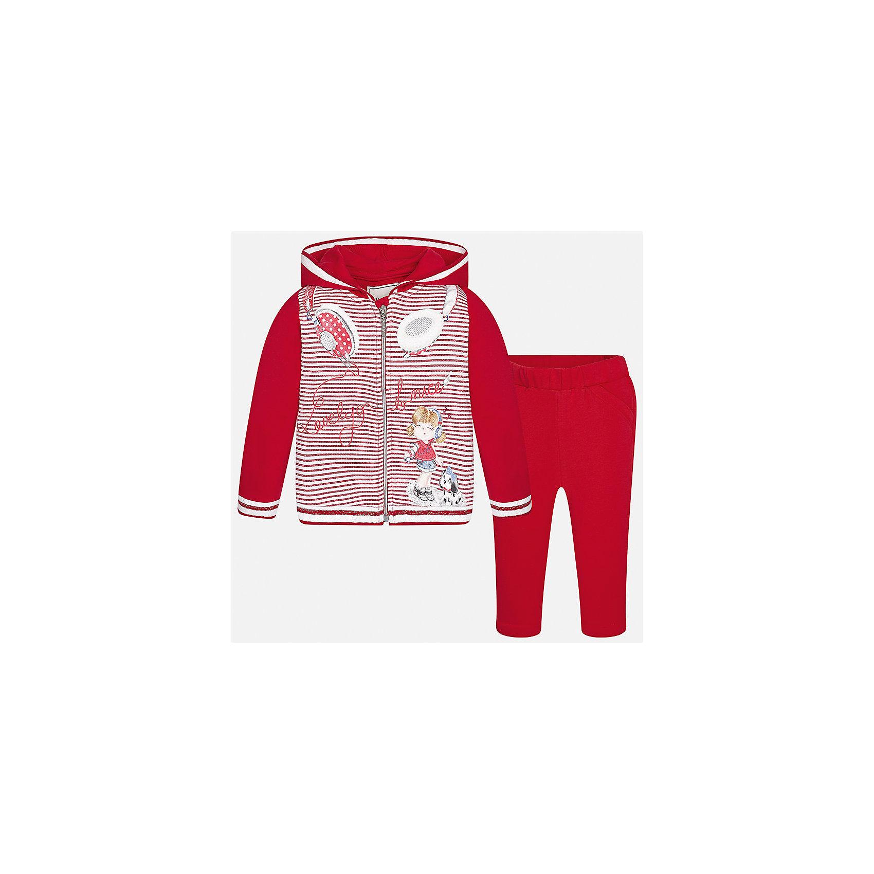 Спортивный костюм для девочки MayoralКомплекты<br>Спортивный костюм для девочки от известной испанской марки Mayoral.<br><br>Ширина мм: 247<br>Глубина мм: 16<br>Высота мм: 140<br>Вес г: 225<br>Цвет: красный<br>Возраст от месяцев: 12<br>Возраст до месяцев: 18<br>Пол: Женский<br>Возраст: Детский<br>Размер: 86,80,92,74<br>SKU: 5289158