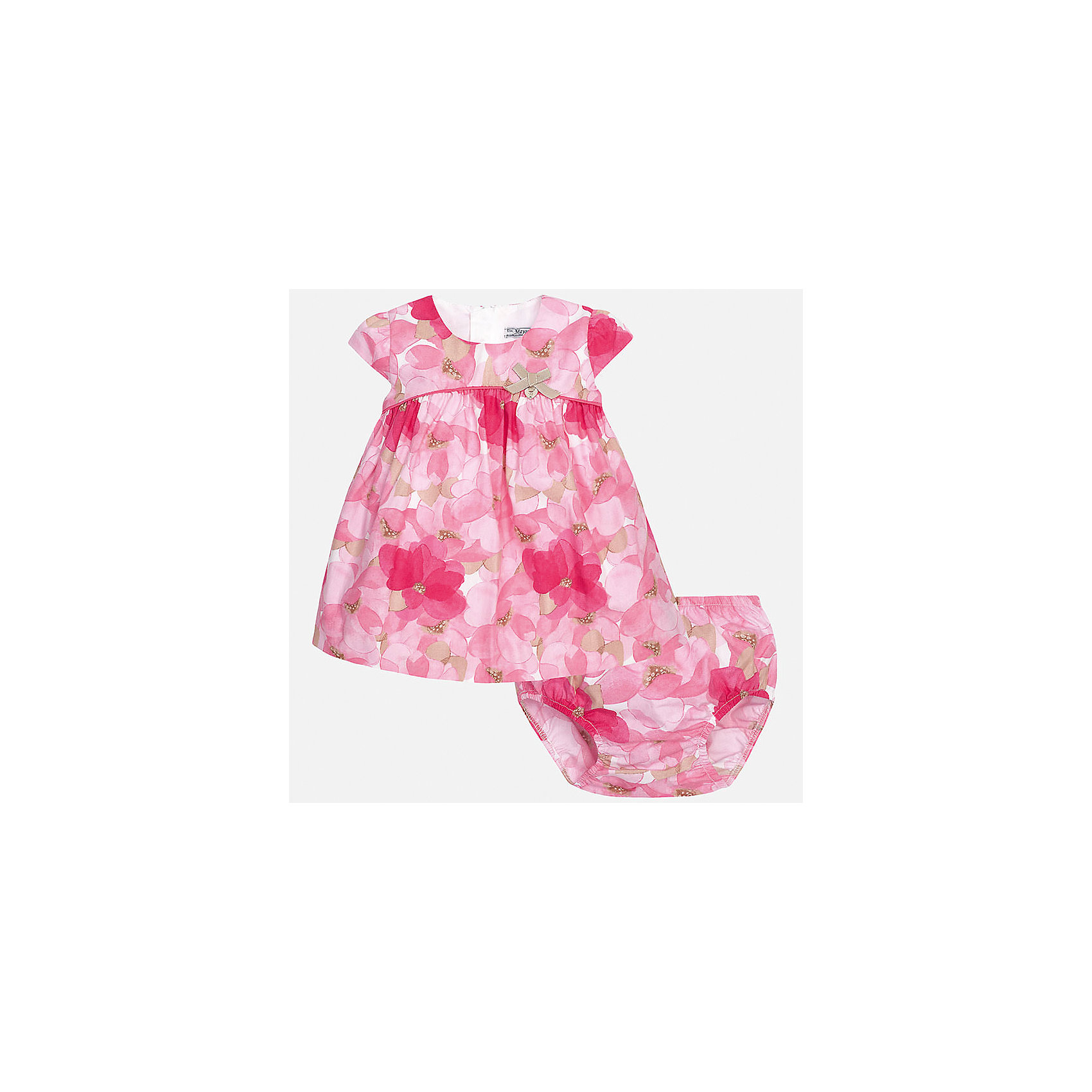 Платье для девочки MayoralПлатья<br>Характеристики товара:<br><br>• цвет: розовый<br>• состав: 100% хлопок, подкладка - 65% полиэстер, 35% хлопок<br>• застежка: молния<br>• легкий материал<br>• украшено принтом<br>• в комплекте - трусы<br>• с подкладкой<br>• короткие рукава<br>• страна бренда: Испания<br><br>Красивое легкое платье для девочки поможет разнообразить гардероб ребенка и создать эффектный наряд. Оно подойдет и для торжественных случаев, может быть и как ежедневный наряд. Красивый оттенок позволяет подобрать к вещи обувь разных расцветок. В составе материала подкладки - натуральный хлопок, гипоаллергенный, приятный на ощупь, дышащий. Платье хорошо сидит по фигуре.<br><br>Одежда, обувь и аксессуары от испанского бренда Mayoral полюбились детям и взрослым по всему миру. Модели этой марки - стильные и удобные. Для их производства используются только безопасные, качественные материалы и фурнитура. Порадуйте ребенка модными и красивыми вещами от Mayoral! <br><br>Платье для девочки от испанского бренда Mayoral (Майорал) можно купить в нашем интернет-магазине.<br><br>Ширина мм: 236<br>Глубина мм: 16<br>Высота мм: 184<br>Вес г: 177<br>Цвет: розовый<br>Возраст от месяцев: 6<br>Возраст до месяцев: 9<br>Пол: Женский<br>Возраст: Детский<br>Размер: 74,92,80,86<br>SKU: 5289178
