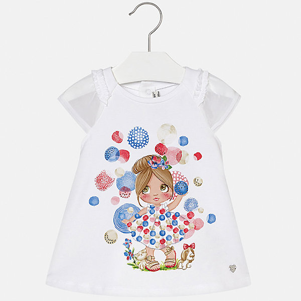 Платье для девочки MayoralПлатья<br>Характеристики товара:<br><br>• цвет: белый<br>• застежка: кнопки<br>• легкий материал<br>• оборки на рукавах<br>• плиссированный низ<br>• короткие рукава<br>• принт<br>• страна бренда: Испания<br><br>Красивое легкое платье для девочки поможет разнообразить гардероб ребенка и создать эффектный наряд. Оно подойдет и для торжественных случаев, может быть и как ежедневный наряд. Красивый оттенок позволяет подобрать к вещи обувь разных расцветок. В составе материала подкладки - натуральный хлопок, гипоаллергенный, приятный на ощупь, дышащий. Платье хорошо сидит по фигуре.<br><br>Одежда, обувь и аксессуары от испанского бренда Mayoral полюбились детям и взрослым по всему миру. Модели этой марки - стильные и удобные. Для их производства используются только безопасные, качественные материалы и фурнитура. Порадуйте ребенка модными и красивыми вещами от Mayoral! <br><br>Платье для девочки от испанского бренда Mayoral (Майорал) можно купить в нашем интернет-магазине.<br><br>Ширина мм: 236<br>Глубина мм: 16<br>Высота мм: 184<br>Вес г: 177<br>Цвет: красный<br>Возраст от месяцев: 6<br>Возраст до месяцев: 9<br>Пол: Женский<br>Возраст: Детский<br>Размер: 74,92,86,80<br>SKU: 5289188