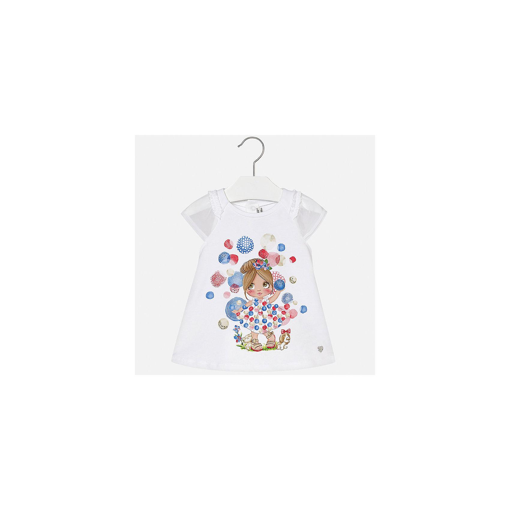 Платье для девочки MayoralПлатья<br>Характеристики товара:<br><br>• цвет: белый<br>• застежка: кнопки<br>• легкий материал<br>• оборки на рукавах<br>• плиссированный низ<br>• короткие рукава<br>• принт<br>• страна бренда: Испания<br><br>Красивое легкое платье для девочки поможет разнообразить гардероб ребенка и создать эффектный наряд. Оно подойдет и для торжественных случаев, может быть и как ежедневный наряд. Красивый оттенок позволяет подобрать к вещи обувь разных расцветок. В составе материала подкладки - натуральный хлопок, гипоаллергенный, приятный на ощупь, дышащий. Платье хорошо сидит по фигуре.<br><br>Одежда, обувь и аксессуары от испанского бренда Mayoral полюбились детям и взрослым по всему миру. Модели этой марки - стильные и удобные. Для их производства используются только безопасные, качественные материалы и фурнитура. Порадуйте ребенка модными и красивыми вещами от Mayoral! <br><br>Платье для девочки от испанского бренда Mayoral (Майорал) можно купить в нашем интернет-магазине.<br><br>Ширина мм: 236<br>Глубина мм: 16<br>Высота мм: 184<br>Вес г: 177<br>Цвет: красный<br>Возраст от месяцев: 6<br>Возраст до месяцев: 9<br>Пол: Женский<br>Возраст: Детский<br>Размер: 74,86,80,92<br>SKU: 5289188