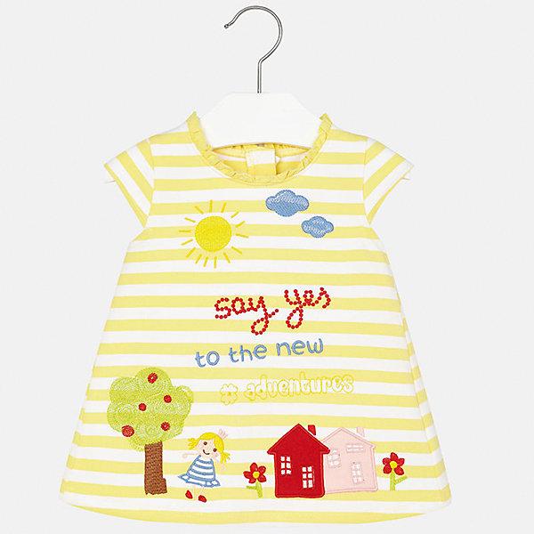 Платье для девочки MayoralПлатья<br>Характеристики товара:<br><br>• цвет: желтый<br>• состав: 95% хлопок, 5% эластан<br>• застежка: молния<br>• легкий материал<br>• оборки на вороте<br>• короткие рукава<br>• принт<br>• страна бренда: Испания<br><br>Красивое легкое платье для девочки поможет разнообразить гардероб ребенка и создать эффектный наряд. Оно подойдет и для торжественных случаев, может быть и как ежедневный наряд. Красивый оттенок позволяет подобрать к вещи обувь разных расцветок. В составе материала подкладки - натуральный хлопок, гипоаллергенный, приятный на ощупь, дышащий. Платье хорошо сидит по фигуре.<br><br>Одежда, обувь и аксессуары от испанского бренда Mayoral полюбились детям и взрослым по всему миру. Модели этой марки - стильные и удобные. Для их производства используются только безопасные, качественные материалы и фурнитура. Порадуйте ребенка модными и красивыми вещами от Mayoral! <br><br>Платье для девочки от испанского бренда Mayoral (Майорал) можно купить в нашем интернет-магазине.<br><br>Ширина мм: 236<br>Глубина мм: 16<br>Высота мм: 184<br>Вес г: 177<br>Цвет: желтый<br>Возраст от месяцев: 6<br>Возраст до месяцев: 9<br>Пол: Женский<br>Возраст: Детский<br>Размер: 74,86,80,92<br>SKU: 5289213