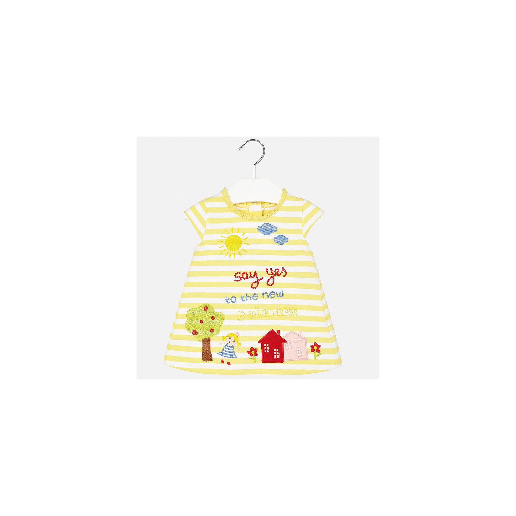 Платье для девочки MayoralСицилия<br>Характеристики товара:<br><br>• цвет: желтый<br>• состав: 95% хлопок, 5% эластан<br>• застежка: молния<br>• легкий материал<br>• оборки на вороте<br>• короткие рукава<br>• принт<br>• страна бренда: Испания<br><br>Красивое легкое платье для девочки поможет разнообразить гардероб ребенка и создать эффектный наряд. Оно подойдет и для торжественных случаев, может быть и как ежедневный наряд. Красивый оттенок позволяет подобрать к вещи обувь разных расцветок. В составе материала подкладки - натуральный хлопок, гипоаллергенный, приятный на ощупь, дышащий. Платье хорошо сидит по фигуре.<br><br>Одежда, обувь и аксессуары от испанского бренда Mayoral полюбились детям и взрослым по всему миру. Модели этой марки - стильные и удобные. Для их производства используются только безопасные, качественные материалы и фурнитура. Порадуйте ребенка модными и красивыми вещами от Mayoral! <br><br>Платье для девочки от испанского бренда Mayoral (Майорал) можно купить в нашем интернет-магазине.<br><br>Ширина мм: 236<br>Глубина мм: 16<br>Высота мм: 184<br>Вес г: 177<br>Цвет: желтый<br>Возраст от месяцев: 6<br>Возраст до месяцев: 9<br>Пол: Женский<br>Возраст: Детский<br>Размер: 92,86,80,74<br>SKU: 5289213
