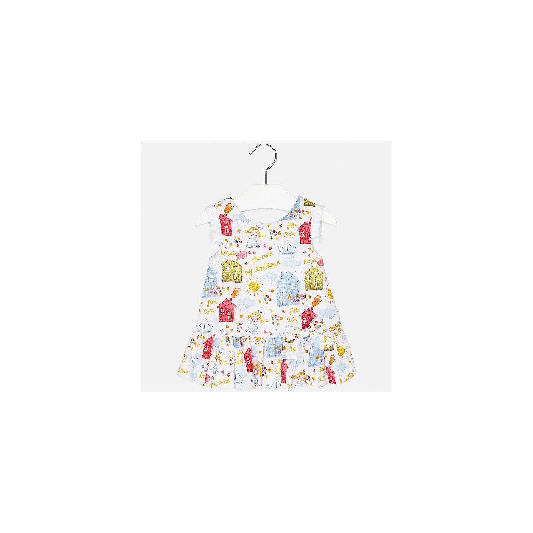 Платье для девочки MayoralПлатья<br>Характеристики товара:<br><br>• цвет: белый принт<br>• состав: 100% хлопок, подкладка - 50% полиэстер, 50% хлопок<br>• застежка: молния<br>• легкий материал<br>• оборки на рукавах<br>• плиссированный низ<br>• с подкладкой<br>• принт<br>• страна бренда: Испания<br><br>Красивое легкое платье для девочки поможет разнообразить гардероб ребенка и создать эффектный наряд. Оно подойдет и для торжественных случаев, может быть и как ежедневный наряд. Красивый оттенок позволяет подобрать к вещи обувь разных расцветок. В составе материала подкладки - натуральный хлопок, гипоаллергенный, приятный на ощупь, дышащий. Платье хорошо сидит по фигуре.<br><br>Одежда, обувь и аксессуары от испанского бренда Mayoral полюбились детям и взрослым по всему миру. Модели этой марки - стильные и удобные. Для их производства используются только безопасные, качественные материалы и фурнитура. Порадуйте ребенка модными и красивыми вещами от Mayoral! <br><br>Платье для девочки от испанского бренда Mayoral (Майорал) можно купить в нашем интернет-магазине.<br><br>Ширина мм: 236<br>Глубина мм: 16<br>Высота мм: 184<br>Вес г: 177<br>Цвет: голубой<br>Возраст от месяцев: 6<br>Возраст до месяцев: 9<br>Пол: Женский<br>Возраст: Детский<br>Размер: 74,92,80,86<br>SKU: 5289223