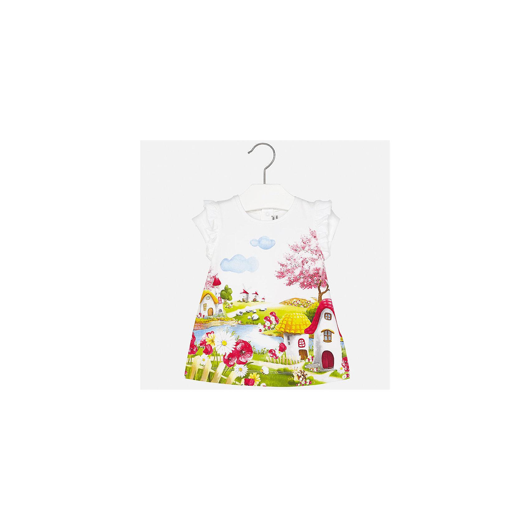 Платье для девочки MayoralОдежда<br>Характеристики товара:<br><br>• цвет: белый<br>• состав: 92% хлопок, 8% эластан<br>• оборки на рукавах<br>• сзади кнопки<br>• короткие рукава<br>• принт<br>• страна бренда: Испания<br><br>Красивое легкое платье для девочки поможет разнообразить гардероб ребенка и создать эффектный наряд. Оно подойдет и для торжественных случаев, может быть и как ежедневный наряд. Красивый оттенок позволяет подобрать к вещи обувь разных расцветок. В составе материала подкладки - натуральный хлопок, гипоаллергенный, приятный на ощупь, дышащий. Платье хорошо сидит по фигуре.<br><br>Одежда, обувь и аксессуары от испанского бренда Mayoral полюбились детям и взрослым по всему миру. Модели этой марки - стильные и удобные. Для их производства используются только безопасные, качественные материалы и фурнитура. Порадуйте ребенка модными и красивыми вещами от Mayoral! <br><br>Платье для девочки от испанского бренда Mayoral (Майорал) можно купить в нашем интернет-магазине.<br><br>Ширина мм: 236<br>Глубина мм: 16<br>Высота мм: 184<br>Вес г: 177<br>Цвет: красный<br>Возраст от месяцев: 6<br>Возраст до месяцев: 9<br>Пол: Женский<br>Возраст: Детский<br>Размер: 74,92,80,86<br>SKU: 5289228