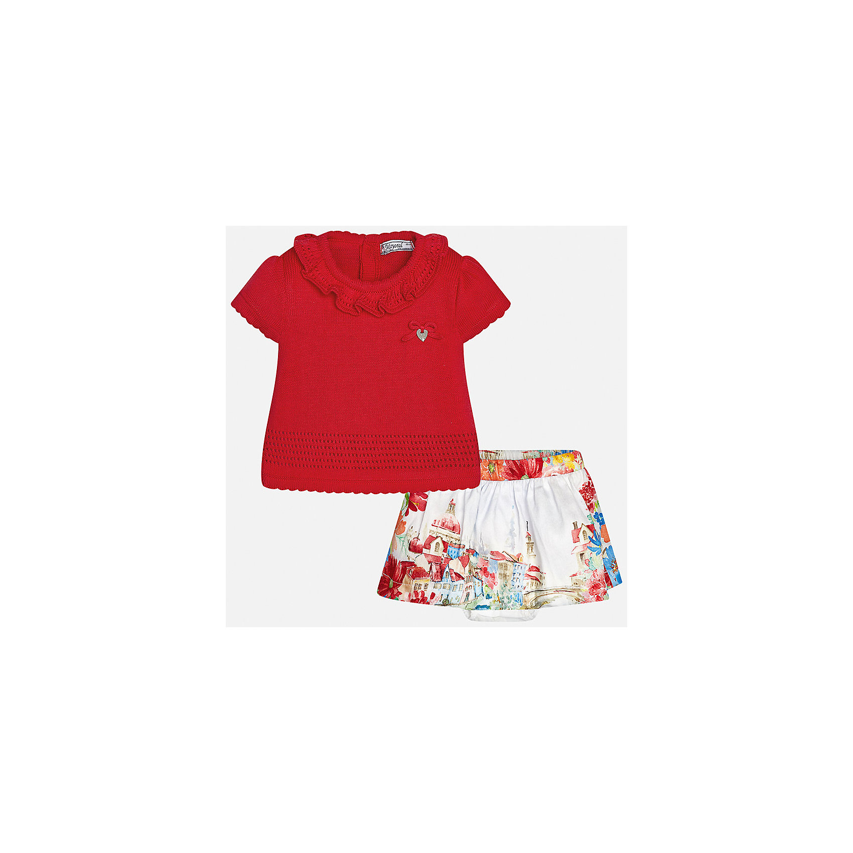 Комплект: топ и юбка для девочки MayoralКомплекты<br>Комплект: топ и юбка для девочки от известной испанской марки Mayoral.<br><br>Ширина мм: 207<br>Глубина мм: 10<br>Высота мм: 189<br>Вес г: 183<br>Цвет: красный<br>Возраст от месяцев: 6<br>Возраст до месяцев: 9<br>Пол: Женский<br>Возраст: Детский<br>Размер: 74,92,86,80<br>SKU: 5289248