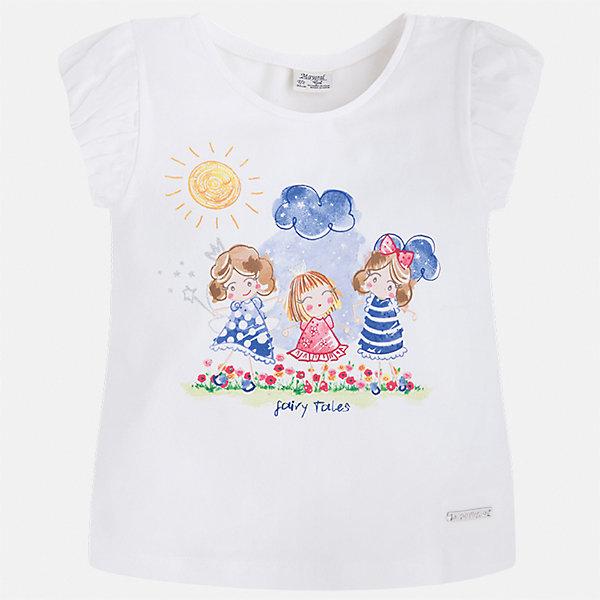 Футболка для девочки MayoralФутболки, поло и топы<br>Характеристики товара:<br><br>• цвет: белый<br>• состав: 92% хлопок, 8% эластан<br>• логотип<br>• округлый горловой вырез<br>• короткие рукава<br>• принт<br>• страна бренда: Испания<br><br>Стильная качественная футболка для девочки поможет разнообразить гардероб ребенка и украсить наряд. Она отлично сочетается и с юбками, и с шортами, и с брюками. Универсальный цвет позволяет подобрать к вещи низ практически любой расцветки. Интересная отделка модели делает её нарядной и оригинальной. В составе ткани преобладает натуральный хлопок, гипоаллергенный, приятный на ощупь, дышащий.<br><br>Одежда, обувь и аксессуары от испанского бренда Mayoral полюбились детям и взрослым по всему миру. Модели этой марки - стильные и удобные. Для их производства используются только безопасные, качественные материалы и фурнитура. Порадуйте ребенка модными и красивыми вещами от Mayoral! <br><br>Футболку для девочки от испанского бренда Mayoral (Майорал) можно купить в нашем интернет-магазине.<br>Ширина мм: 199; Глубина мм: 10; Высота мм: 161; Вес г: 151; Цвет: синий; Возраст от месяцев: 18; Возраст до месяцев: 24; Пол: Женский; Возраст: Детский; Размер: 134,128,122,92,116,110,104,98; SKU: 5289253;