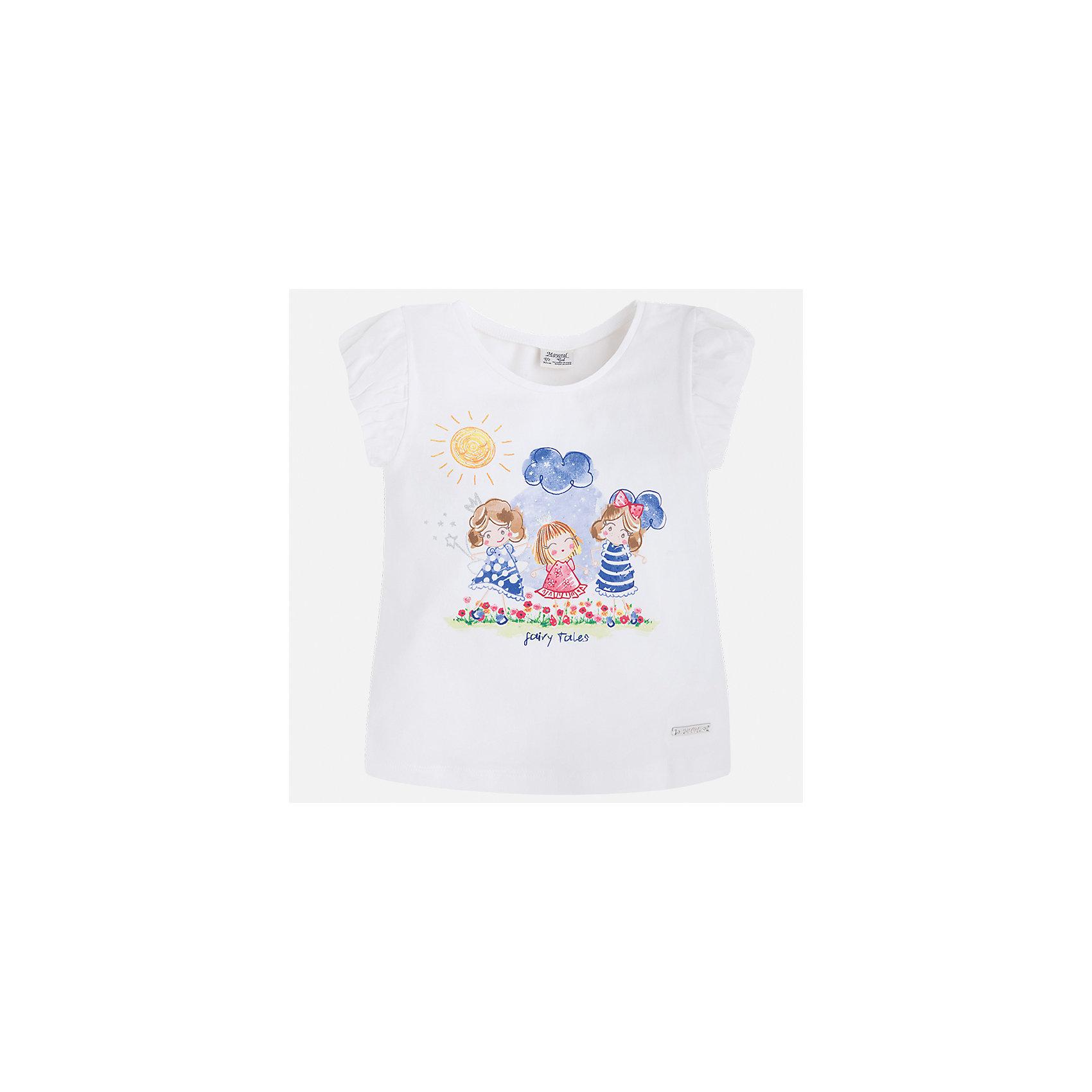 Футболка для девочки MayoralФутболки, поло и топы<br>Характеристики товара:<br><br>• цвет: белый<br>• состав: 92% хлопок, 8% эластан<br>• логотип<br>• округлый горловой вырез<br>• короткие рукава<br>• принт<br>• страна бренда: Испания<br><br>Стильная качественная футболка для девочки поможет разнообразить гардероб ребенка и украсить наряд. Она отлично сочетается и с юбками, и с шортами, и с брюками. Универсальный цвет позволяет подобрать к вещи низ практически любой расцветки. Интересная отделка модели делает её нарядной и оригинальной. В составе ткани преобладает натуральный хлопок, гипоаллергенный, приятный на ощупь, дышащий.<br><br>Одежда, обувь и аксессуары от испанского бренда Mayoral полюбились детям и взрослым по всему миру. Модели этой марки - стильные и удобные. Для их производства используются только безопасные, качественные материалы и фурнитура. Порадуйте ребенка модными и красивыми вещами от Mayoral! <br><br>Футболку для девочки от испанского бренда Mayoral (Майорал) можно купить в нашем интернет-магазине.<br><br>Ширина мм: 199<br>Глубина мм: 10<br>Высота мм: 161<br>Вес г: 151<br>Цвет: синий<br>Возраст от месяцев: 96<br>Возраст до месяцев: 108<br>Пол: Женский<br>Возраст: Детский<br>Размер: 134,92,98,104,110,116,122,128<br>SKU: 5289253