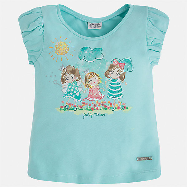 Футболка для девочки MayoralФутболки, поло и топы<br>Характеристики товара:<br><br>• цвет: мятный<br>• состав: 92% хлопок, 8% эластан<br>• принт<br>• объемные рукава<br>• короткие рукава<br>• округлый горловой вырез<br>• страна бренда: Испания<br><br>Стильная качественная футболка для девочки поможет разнообразить гардероб ребенка и украсить наряд. Она отлично сочетается и с юбками, и с шортами, и с брюками. Универсальный цвет позволяет подобрать к вещи низ практически любой расцветки. Интересная отделка модели делает её нарядной и оригинальной. В составе ткани преобладает натуральный хлопок, гипоаллергенный, приятный на ощупь, дышащий.<br><br>Одежда, обувь и аксессуары от испанского бренда Mayoral полюбились детям и взрослым по всему миру. Модели этой марки - стильные и удобные. Для их производства используются только безопасные, качественные материалы и фурнитура. Порадуйте ребенка модными и красивыми вещами от Mayoral! <br><br>Футболку для девочки от испанского бренда Mayoral (Майорал) можно купить в нашем интернет-магазине.<br><br>Ширина мм: 199<br>Глубина мм: 10<br>Высота мм: 161<br>Вес г: 151<br>Цвет: голубой<br>Возраст от месяцев: 18<br>Возраст до месяцев: 24<br>Пол: Женский<br>Возраст: Детский<br>Размер: 92,104,134,128,122,116,110,98<br>SKU: 5289262