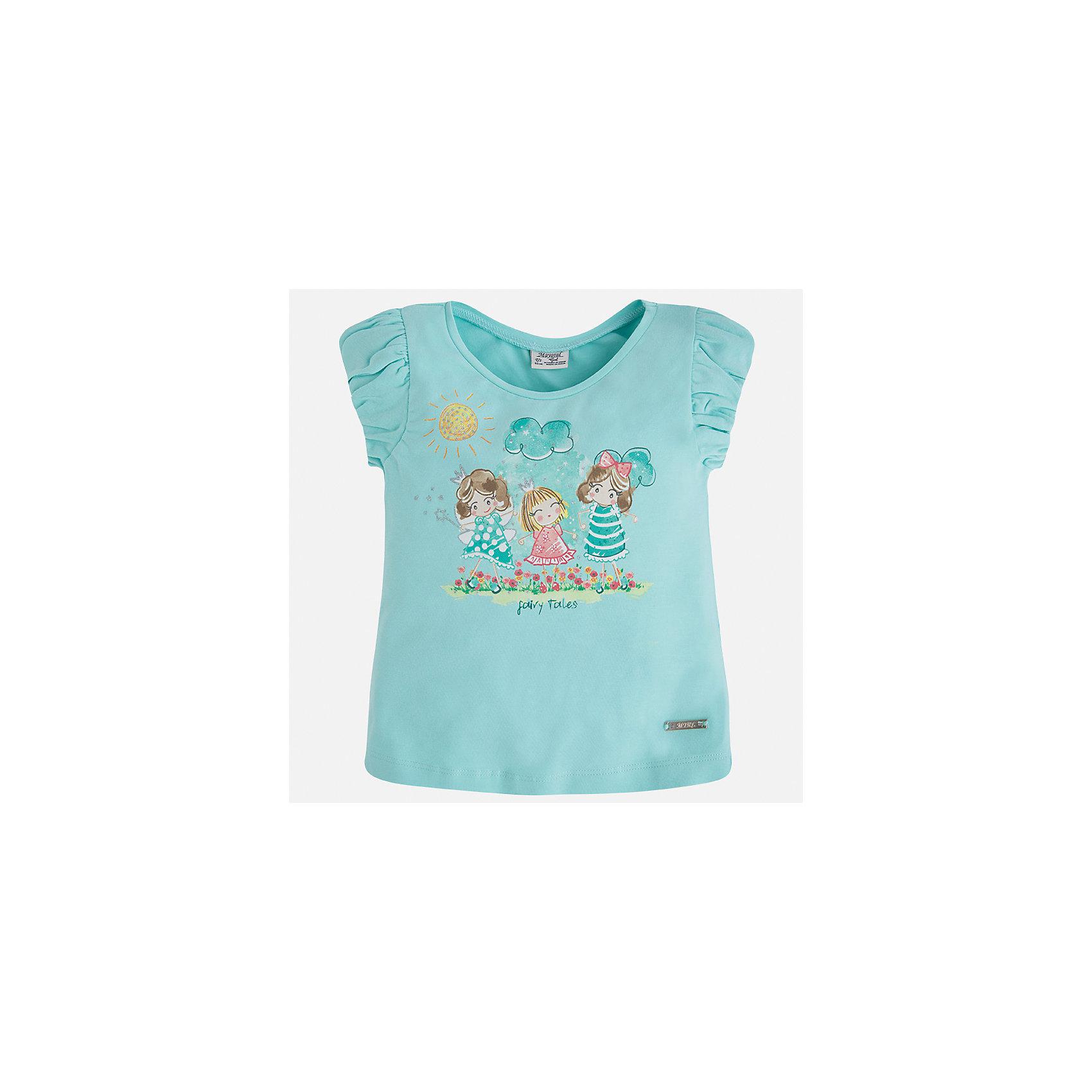 Футболка для девочки MayoralФутболки, поло и топы<br>Характеристики товара:<br><br>• цвет: мятный<br>• состав: 92% хлопок, 8% эластан<br>• принт<br>• объемные рукава<br>• короткие рукава<br>• округлый горловой вырез<br>• страна бренда: Испания<br><br>Стильная качественная футболка для девочки поможет разнообразить гардероб ребенка и украсить наряд. Она отлично сочетается и с юбками, и с шортами, и с брюками. Универсальный цвет позволяет подобрать к вещи низ практически любой расцветки. Интересная отделка модели делает её нарядной и оригинальной. В составе ткани преобладает натуральный хлопок, гипоаллергенный, приятный на ощупь, дышащий.<br><br>Одежда, обувь и аксессуары от испанского бренда Mayoral полюбились детям и взрослым по всему миру. Модели этой марки - стильные и удобные. Для их производства используются только безопасные, качественные материалы и фурнитура. Порадуйте ребенка модными и красивыми вещами от Mayoral! <br><br>Футболку для девочки от испанского бренда Mayoral (Майорал) можно купить в нашем интернет-магазине.<br><br>Ширина мм: 199<br>Глубина мм: 10<br>Высота мм: 161<br>Вес г: 151<br>Цвет: голубой<br>Возраст от месяцев: 84<br>Возраст до месяцев: 96<br>Пол: Женский<br>Возраст: Детский<br>Размер: 128,134,104,92,98,110,116,122<br>SKU: 5289262