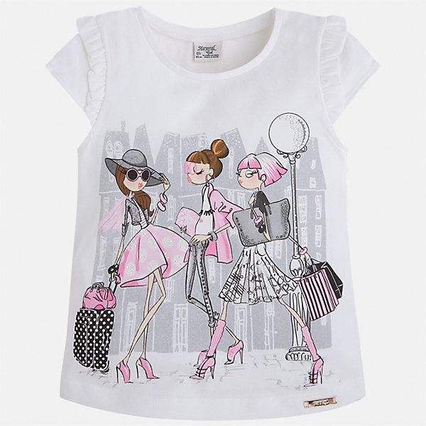 Футболка для девочки MayoralФутболки, поло и топы<br>Характеристики товара:<br><br>• цвет: белый<br>• состав: 92% хлопок, 8% эластан<br>• оборки на рукавах<br>• принт<br>• короткие рукава<br>• округлый горловой вырез<br>• страна бренда: Испания<br><br>Стильная качественная футболка для девочки поможет разнообразить гардероб ребенка и украсить наряд. Она отлично сочетается и с юбками, и с шортами, и с брюками. Универсальный цвет позволяет подобрать к вещи низ практически любой расцветки. Интересная отделка модели делает её нарядной и оригинальной. В составе ткани преобладает натуральный хлопок, гипоаллергенный, приятный на ощупь, дышащий.<br><br>Одежда, обувь и аксессуары от испанского бренда Mayoral полюбились детям и взрослым по всему миру. Модели этой марки - стильные и удобные. Для их производства используются только безопасные, качественные материалы и фурнитура. Порадуйте ребенка модными и красивыми вещами от Mayoral! <br><br>Футболку для девочки от испанского бренда Mayoral (Майорал) можно купить в нашем интернет-магазине.<br><br>Ширина мм: 199<br>Глубина мм: 10<br>Высота мм: 161<br>Вес г: 151<br>Цвет: лиловый<br>Возраст от месяцев: 18<br>Возраст до месяцев: 24<br>Пол: Женский<br>Возраст: Детский<br>Размер: 104,98,92,134,128,122,116,110<br>SKU: 5289289