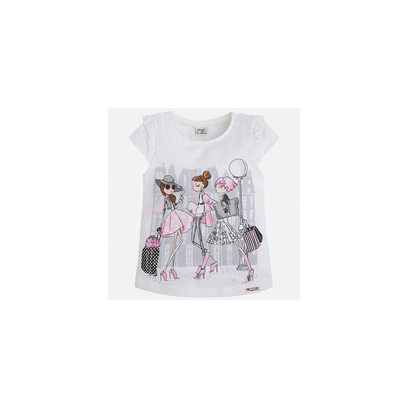 Футболка для девочки MayoralФутболки, поло и топы<br>Характеристики товара:<br><br>• цвет: белый<br>• состав: 92% хлопок, 8% эластан<br>• оборки на рукавах<br>• принт<br>• короткие рукава<br>• округлый горловой вырез<br>• страна бренда: Испания<br><br>Стильная качественная футболка для девочки поможет разнообразить гардероб ребенка и украсить наряд. Она отлично сочетается и с юбками, и с шортами, и с брюками. Универсальный цвет позволяет подобрать к вещи низ практически любой расцветки. Интересная отделка модели делает её нарядной и оригинальной. В составе ткани преобладает натуральный хлопок, гипоаллергенный, приятный на ощупь, дышащий.<br><br>Одежда, обувь и аксессуары от испанского бренда Mayoral полюбились детям и взрослым по всему миру. Модели этой марки - стильные и удобные. Для их производства используются только безопасные, качественные материалы и фурнитура. Порадуйте ребенка модными и красивыми вещами от Mayoral! <br><br>Футболку для девочки от испанского бренда Mayoral (Майорал) можно купить в нашем интернет-магазине.<br><br>Ширина мм: 199<br>Глубина мм: 10<br>Высота мм: 161<br>Вес г: 151<br>Цвет: лиловый<br>Возраст от месяцев: 96<br>Возраст до месяцев: 108<br>Пол: Женский<br>Возраст: Детский<br>Размер: 134,92,98,104,110,116,122,128<br>SKU: 5289289