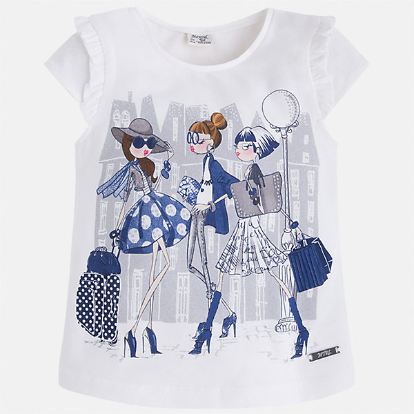 Футболка для девочки MayoralФутболки, поло и топы<br>Характеристики товара:<br><br>• цвет: белый<br>• состав: 98% хлопок, 2% эластан<br>• принт<br>• оборки на рукавах<br>• короткие рукава<br>• округлый горловой вырез<br>• страна бренда: Испания<br><br>Стильная качественная футболка для девочки поможет разнообразить гардероб ребенка и украсить наряд. Она отлично сочетается и с юбками, и с шортами, и с брюками. Универсальный цвет позволяет подобрать к вещи низ практически любой расцветки. Интересная отделка модели делает её нарядной и оригинальной. В составе ткани преобладает натуральный хлопок, гипоаллергенный, приятный на ощупь, дышащий.<br><br>Одежда, обувь и аксессуары от испанского бренда Mayoral полюбились детям и взрослым по всему миру. Модели этой марки - стильные и удобные. Для их производства используются только безопасные, качественные материалы и фурнитура. Порадуйте ребенка модными и красивыми вещами от Mayoral! <br><br>Футболку для девочки от испанского бренда Mayoral (Майорал) можно купить в нашем интернет-магазине.<br><br>Ширина мм: 199<br>Глубина мм: 10<br>Высота мм: 161<br>Вес г: 151<br>Цвет: синий<br>Возраст от месяцев: 18<br>Возраст до месяцев: 24<br>Пол: Женский<br>Возраст: Детский<br>Размер: 92,134,128,122,116,110,104,98<br>SKU: 5289298